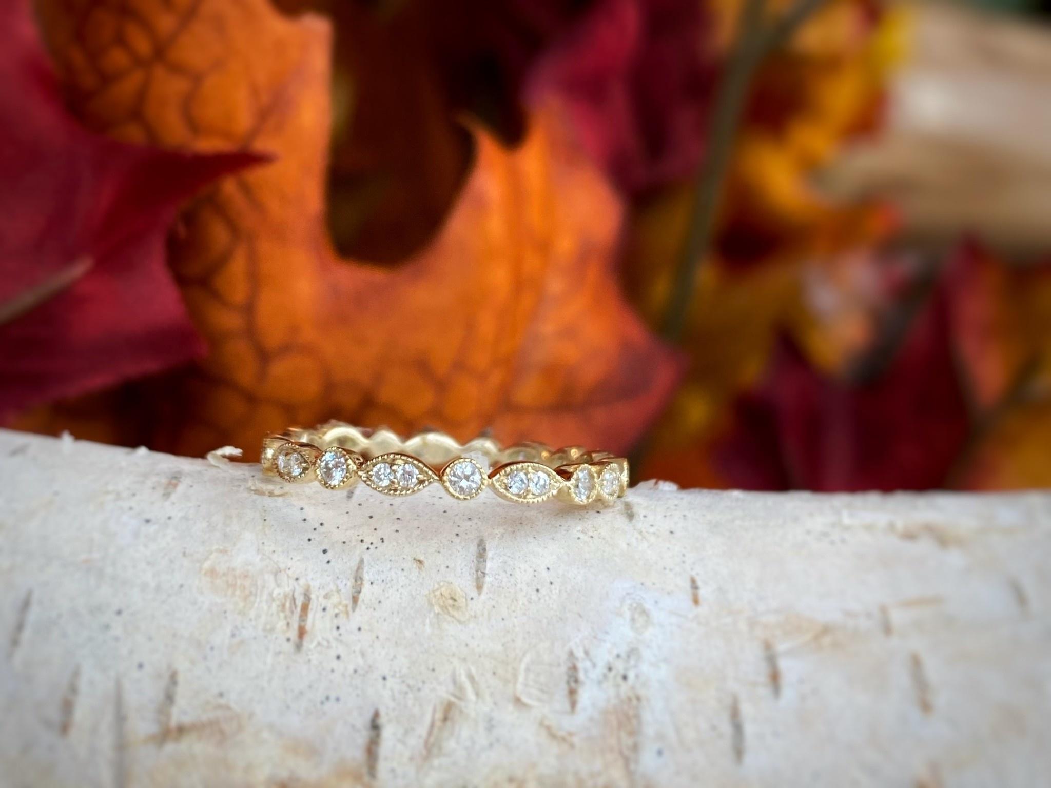 Yellow Gold Diamond Stack Ring