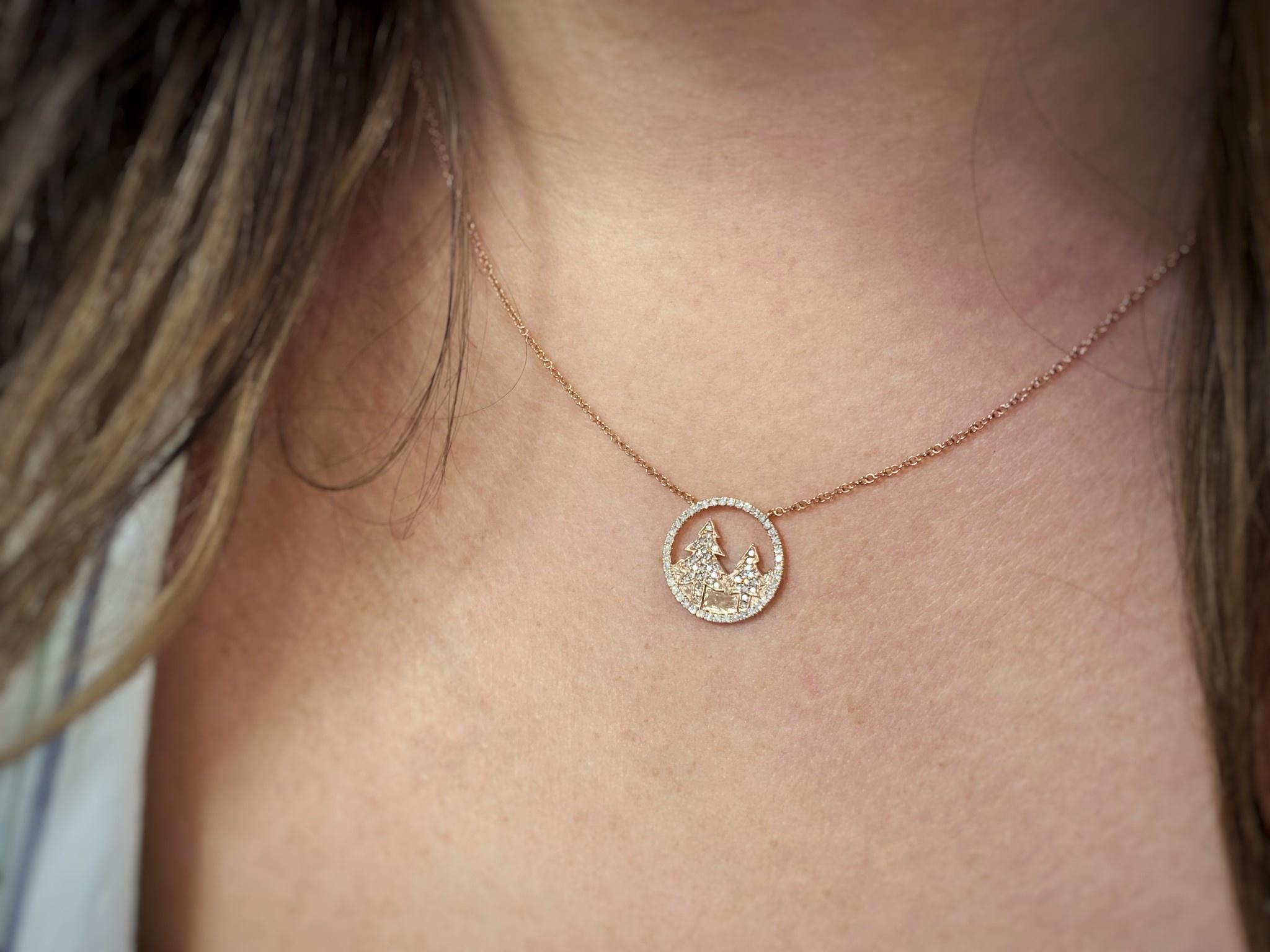 14K Rose Gold Mountain Tree Diamond Necklace