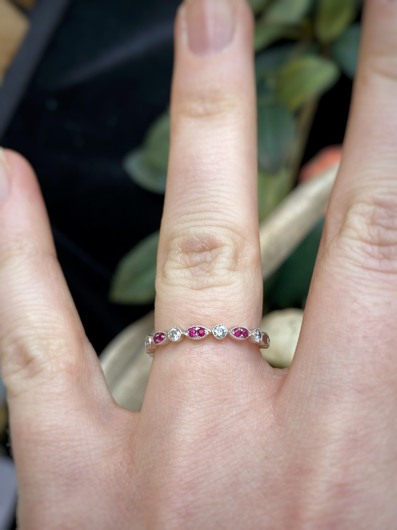 Rose Gold Ruby and Diamond Vintage Band