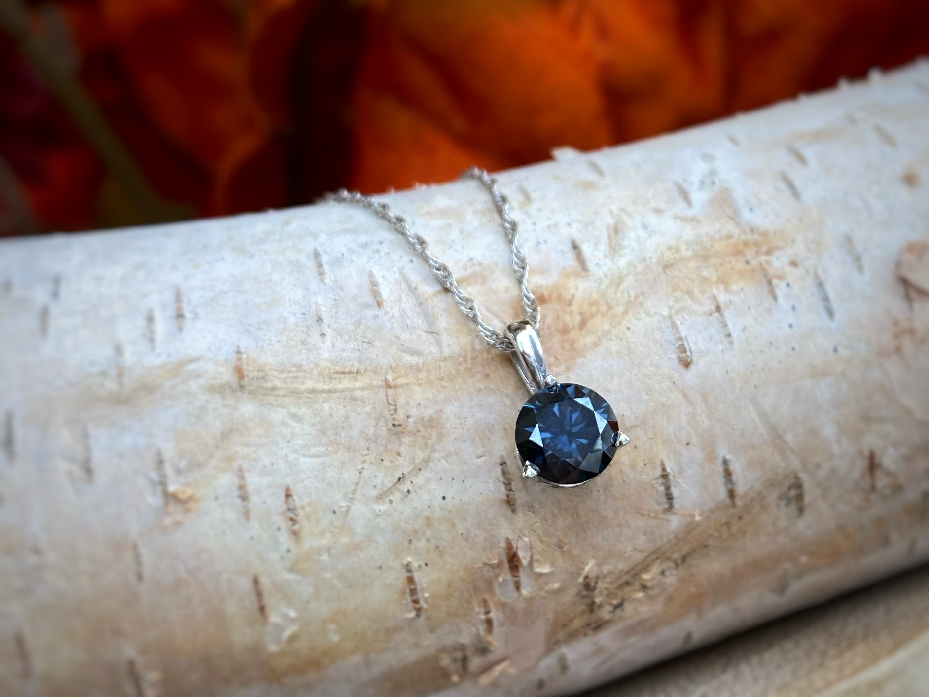 Gray Round Moissanite Pendant Necklace