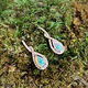 14K Rose Gold Opal and Diamond Drop Earrings