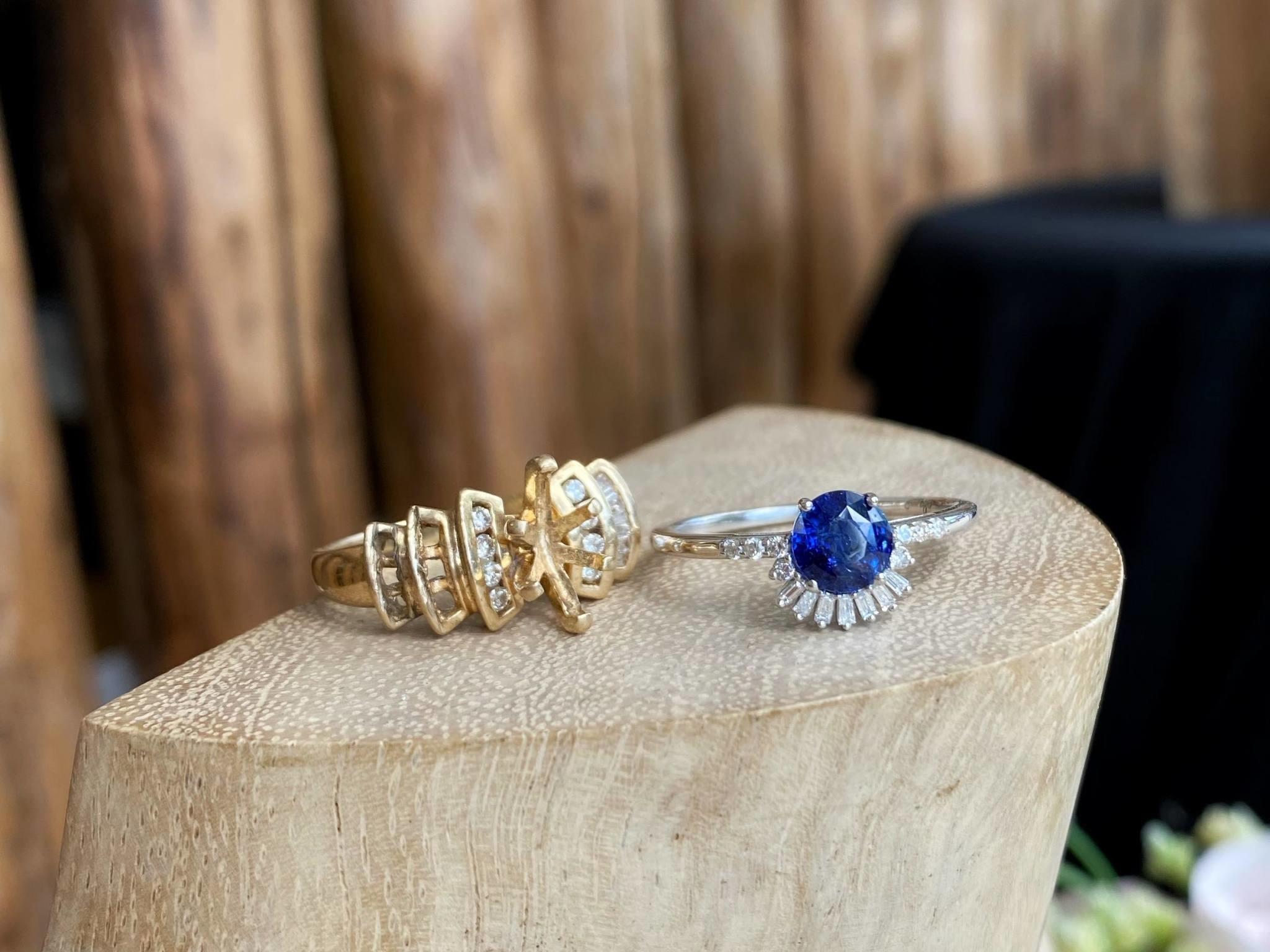 Custom Sapphire Baguette Fanned Ring
