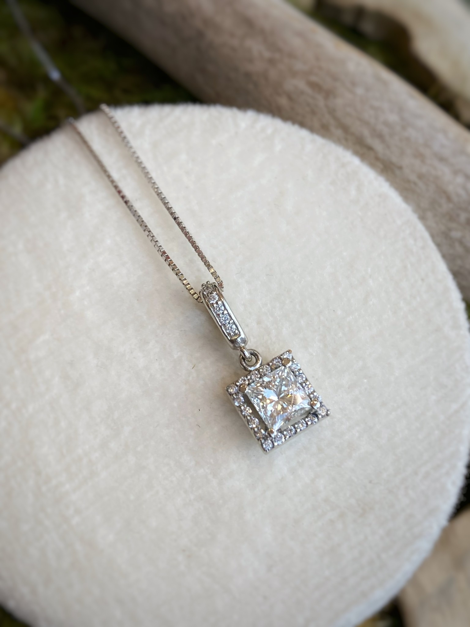 14K White Gold Princess Halo Diamond Pendant