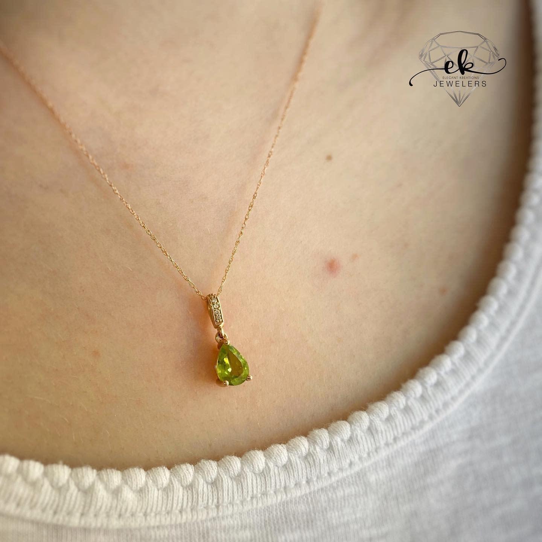 Rose Gold Peridot & Diamond Necklace