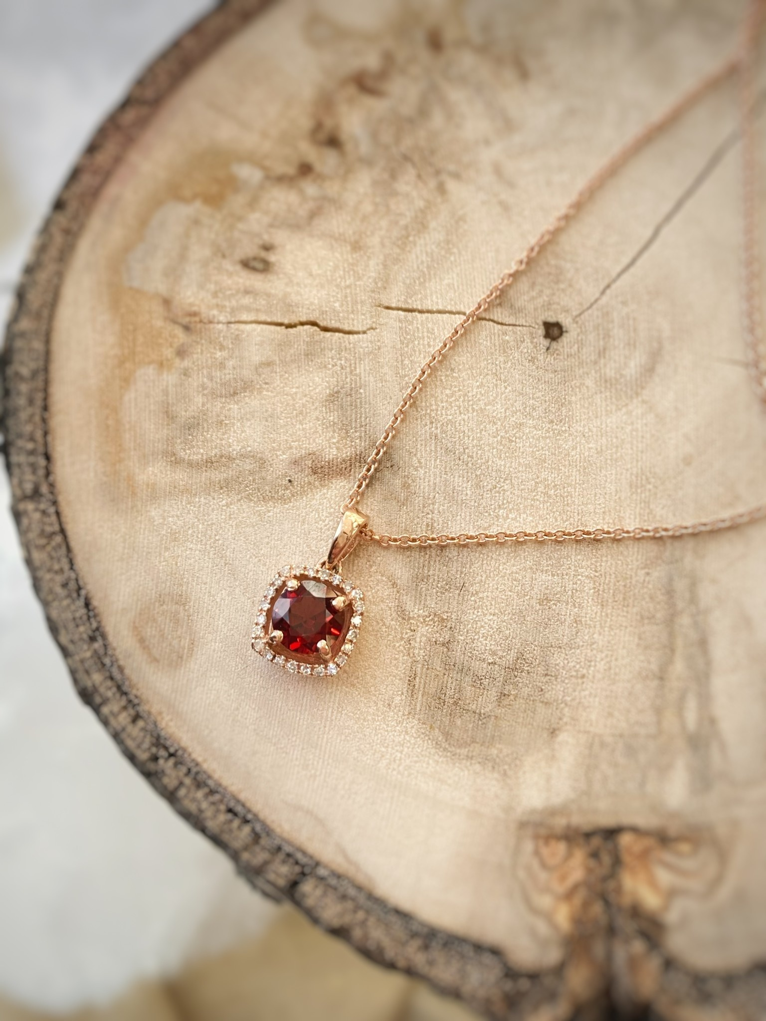 14K Rose Gold Rhodolite Garnet and Diamond Halo Necklace