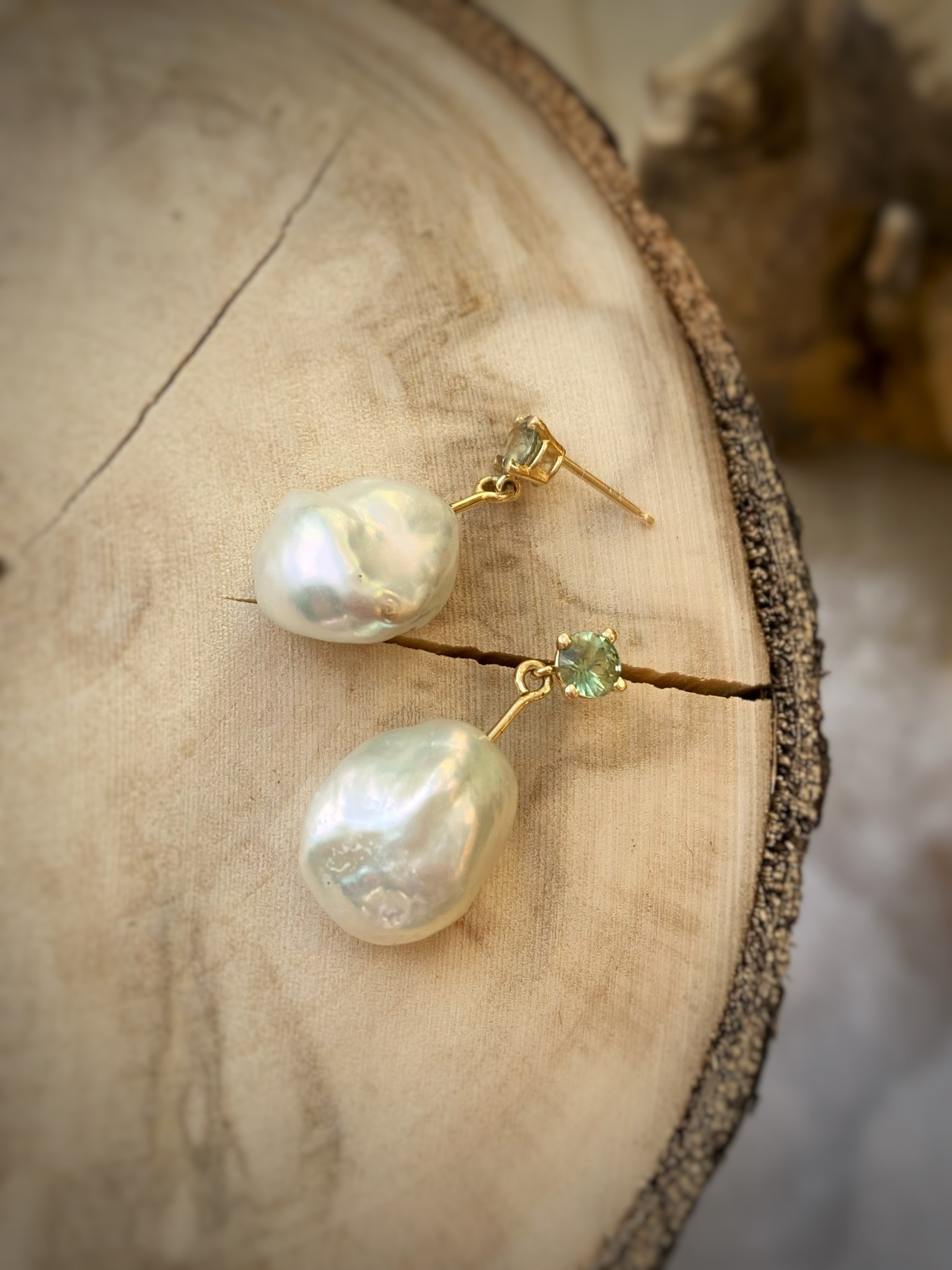 14K Yellow Gold Baroque Pearl and Sapphire Earrings