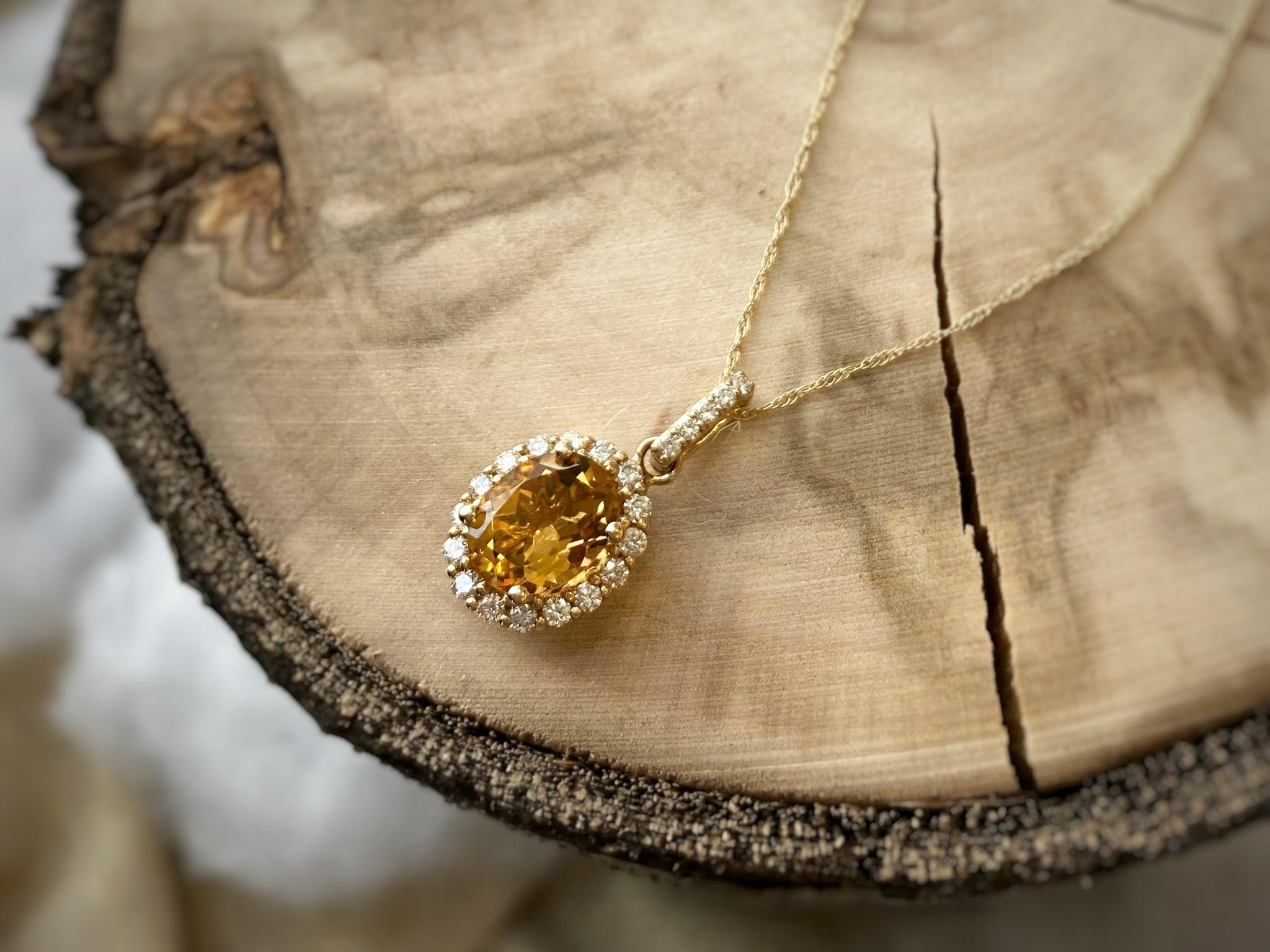 14K Gold Citrine and Diamond Halo Necklace