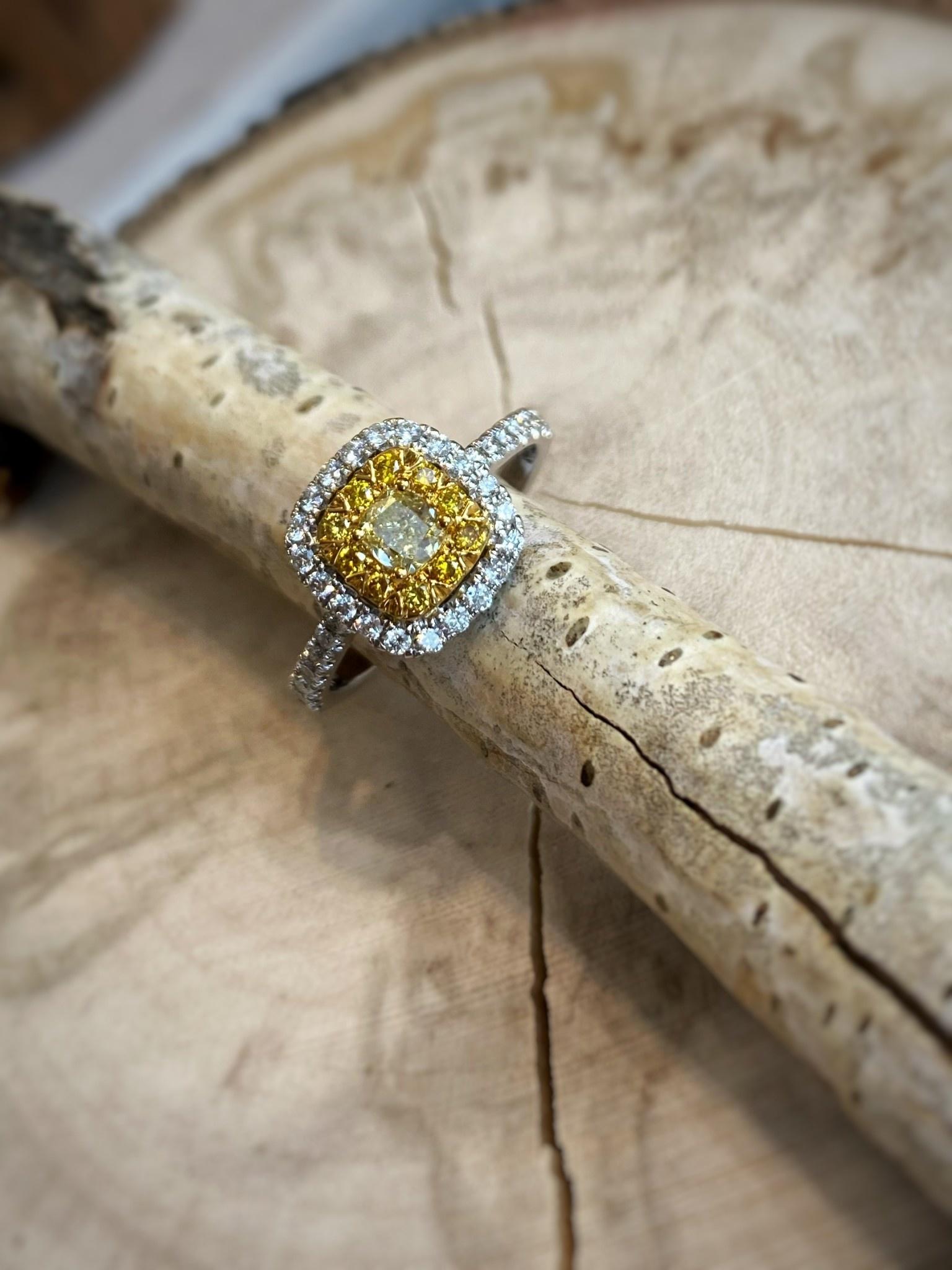 14K White Gold Double Halo White and Yellow Diamond Ring