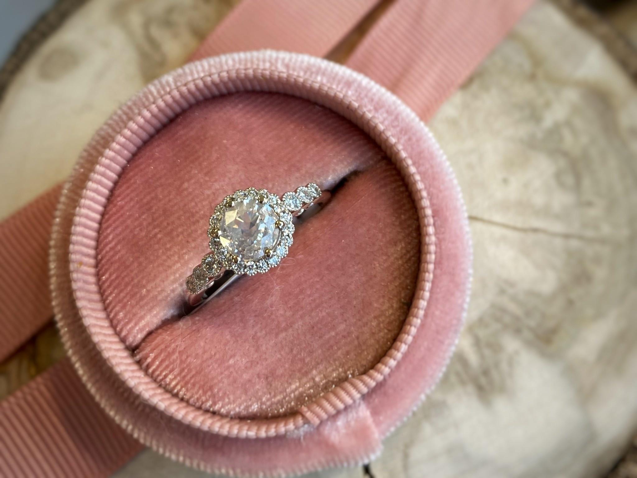 14K White Gold Diamond with Diamond Halo Engagement Ring