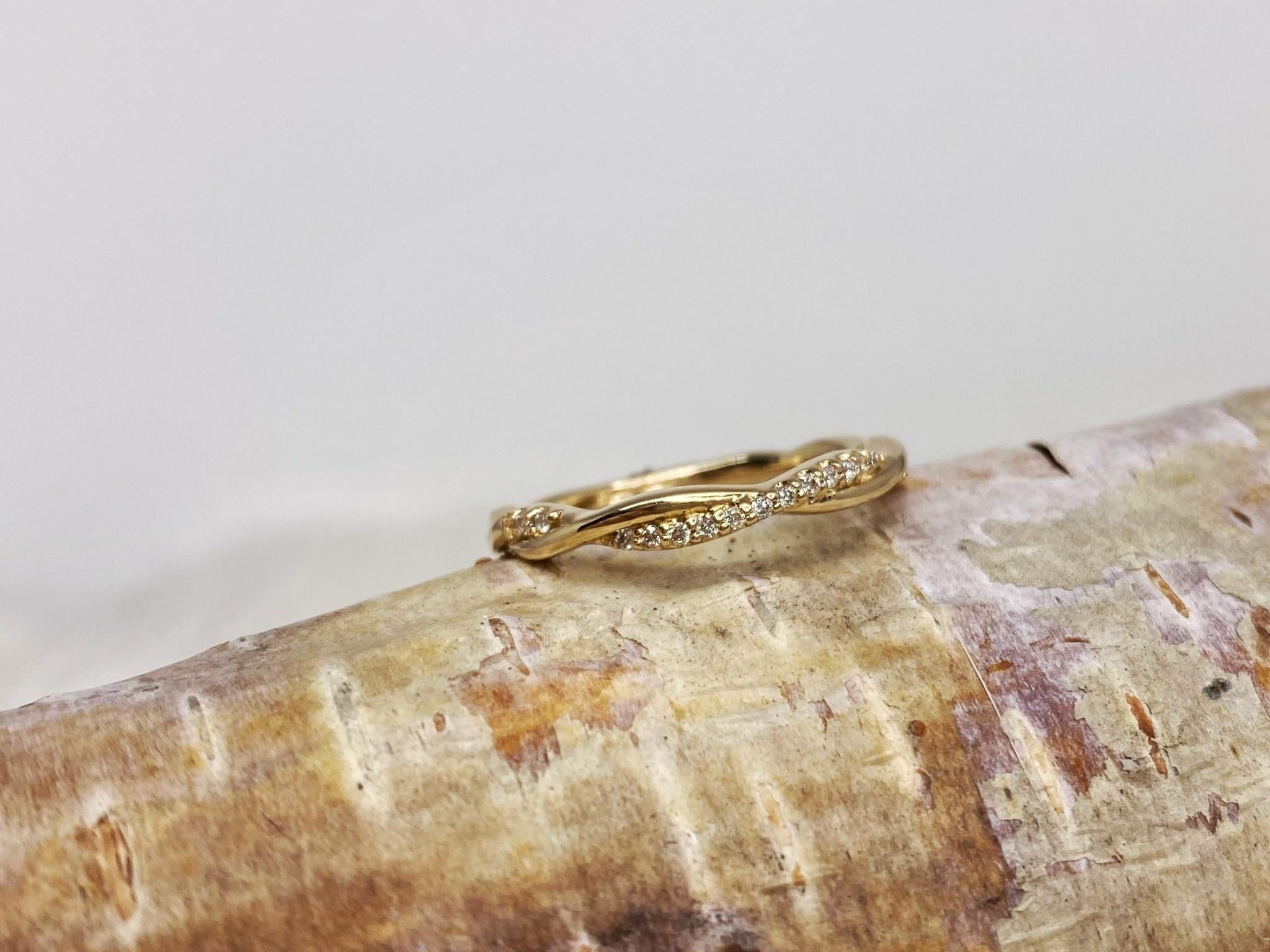 14K Yellow Gold Diamond Twist Band Ring