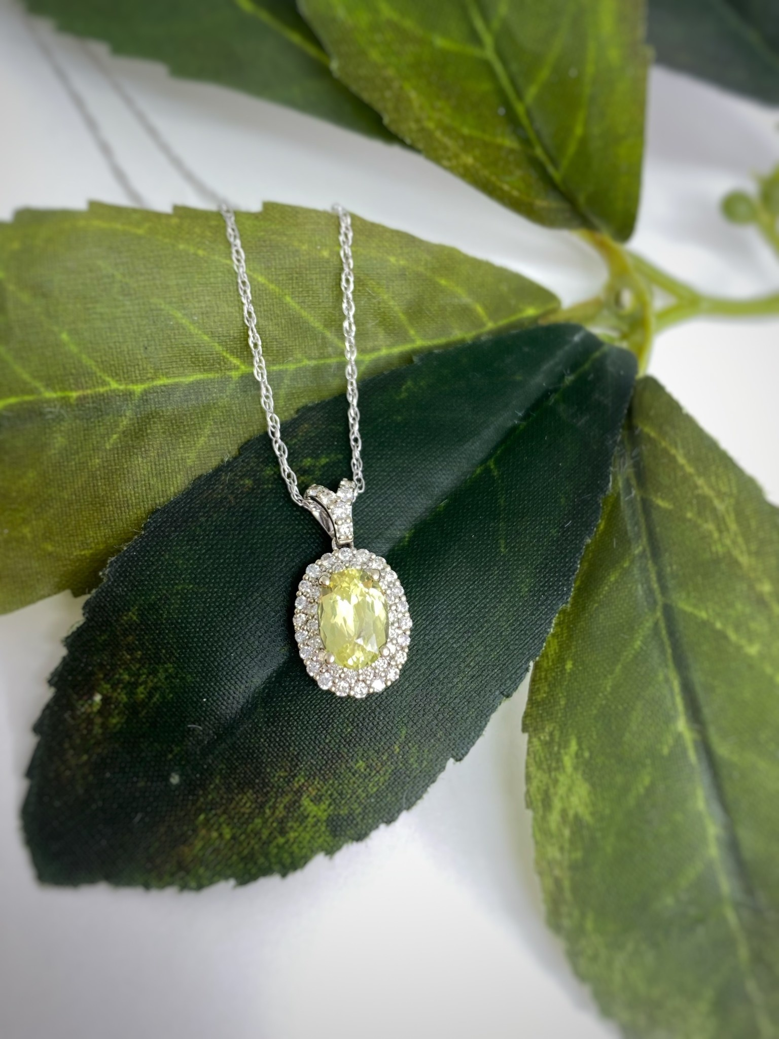 14K White Gold Canary Sapphire Double Diamond Halo Necklace