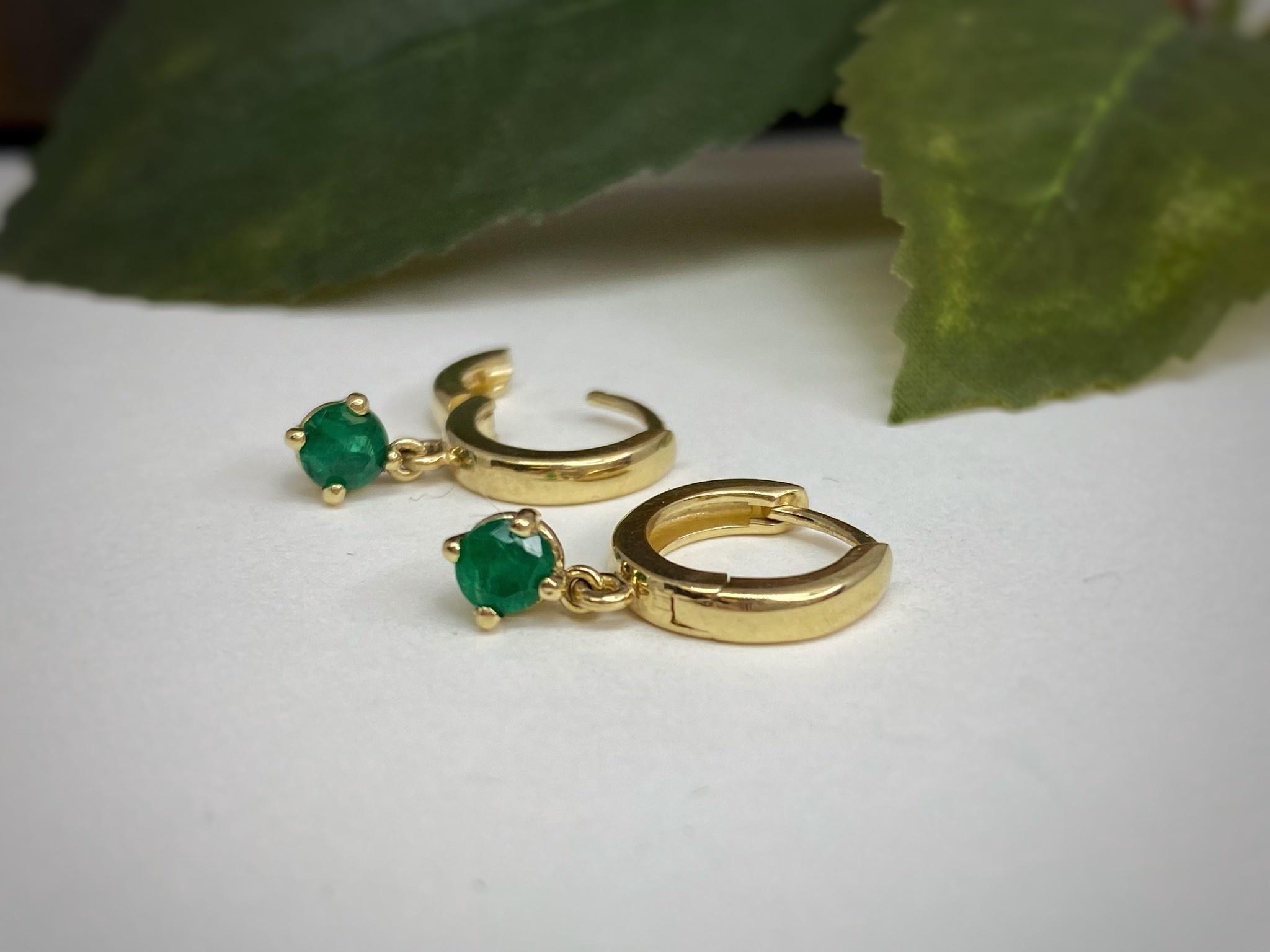 14K Yellow Gold Emerald Dangle Hoop Earrings