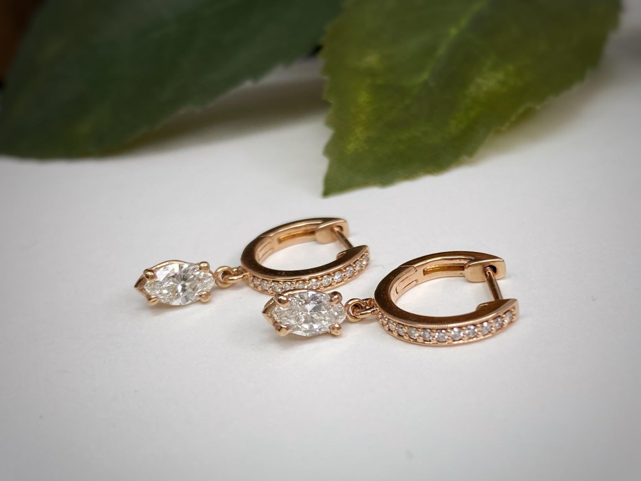 14K Rose Gold Marquise Diamond Dangle Hoop Earrings