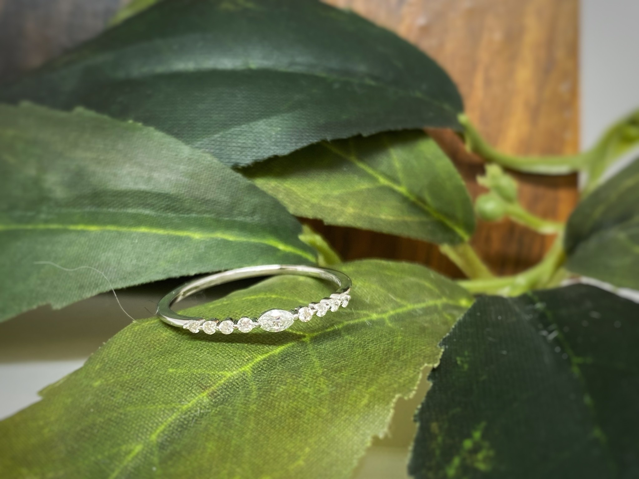 14K White Gold Marquise Diamond Wedding Band Ring