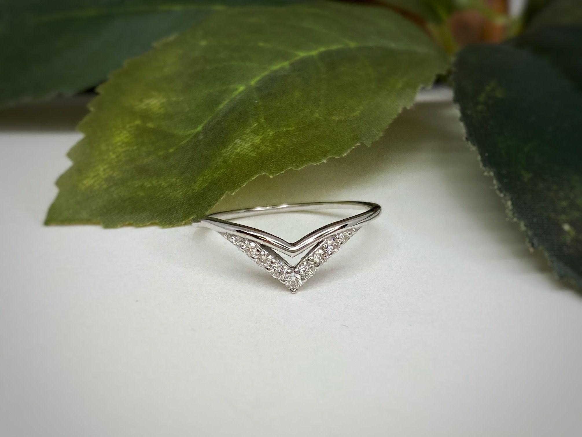 14K White Gold Double Chevron Diamond Wedding Band Ring