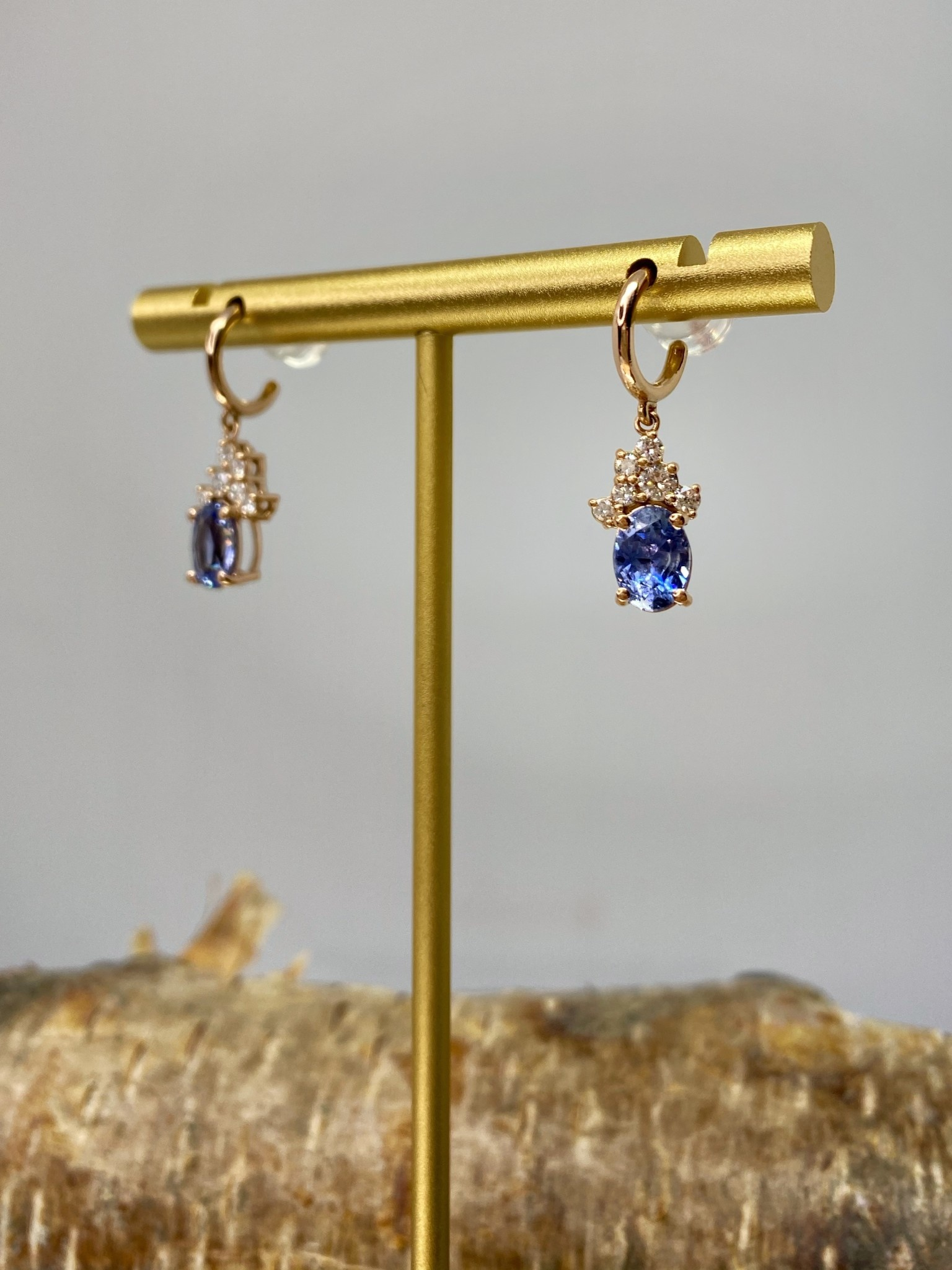 14K Rose Gold Oval Blue Sapphire and Diamond Earrings