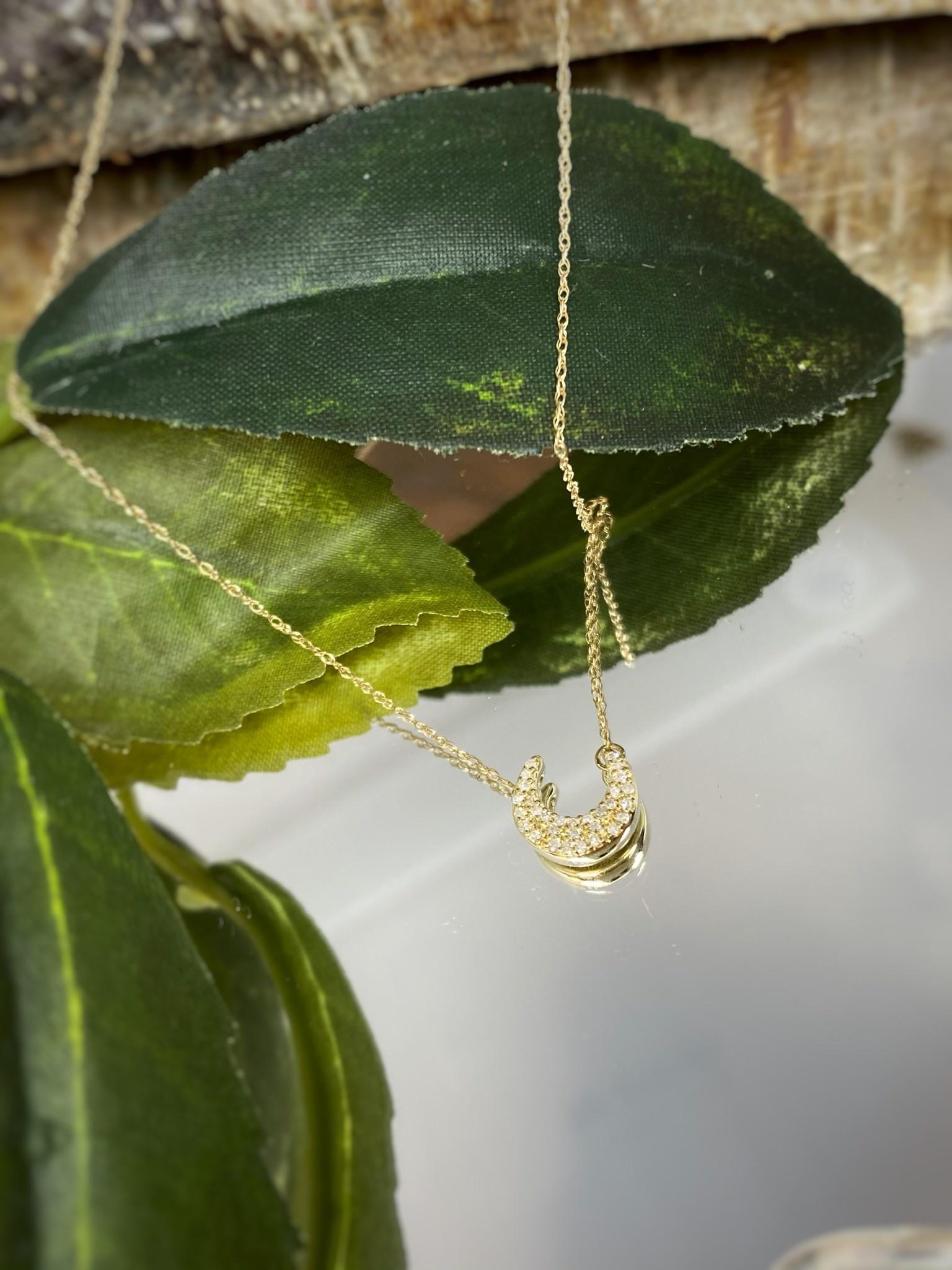 10K Yellow Gold Diamond Crescent Moon Necklace
