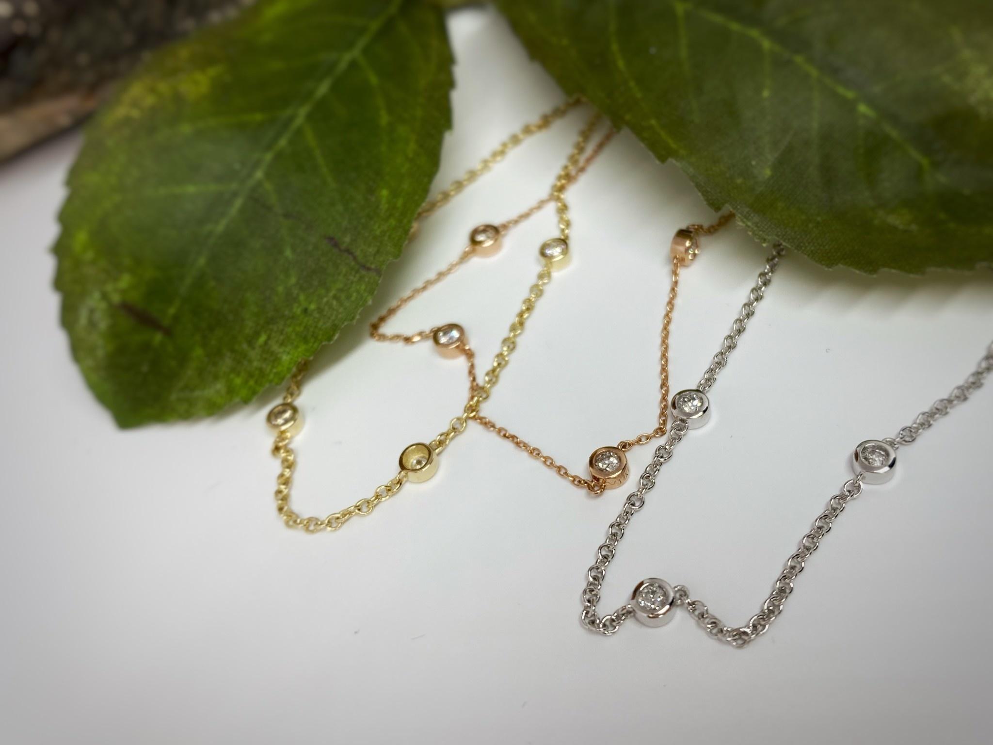 14K Rose Gold Bezel Set Diamond Bracelet