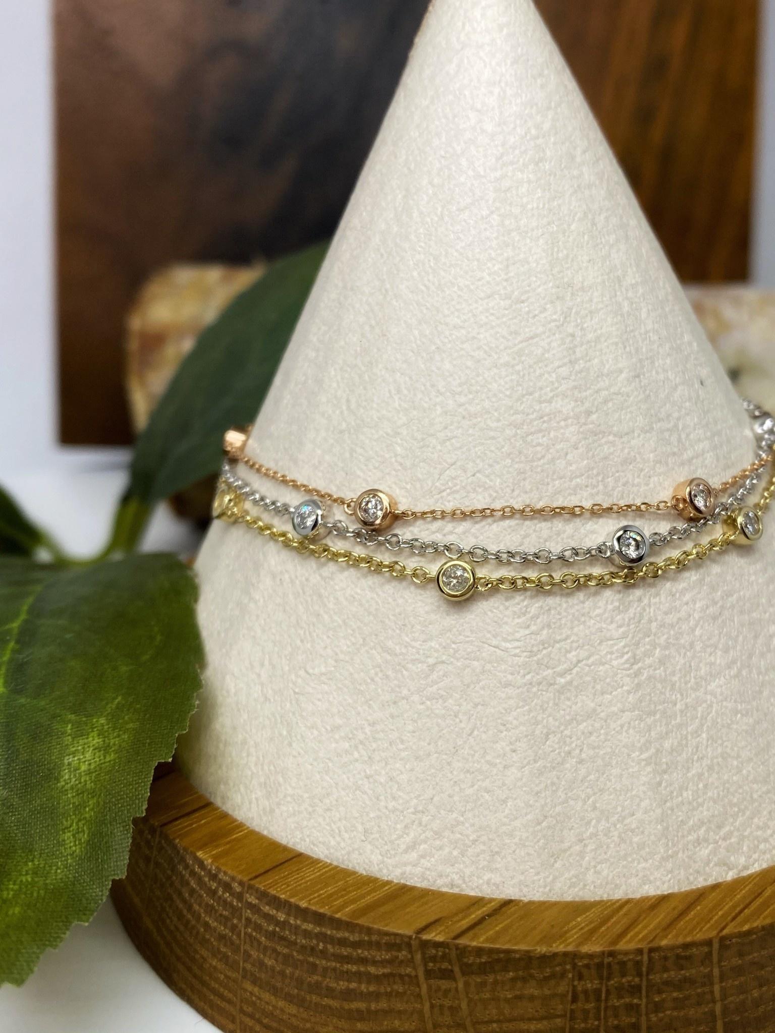 14K Yellow Gold Bezel Set Diamond Bracelet
