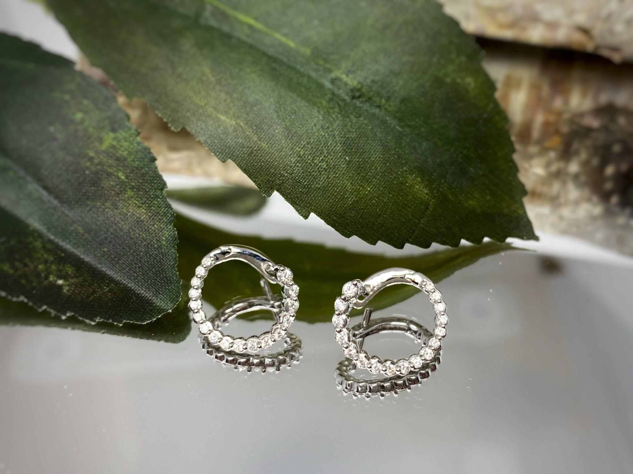10K White Gold Diamond Front to Back Hoop Earrings