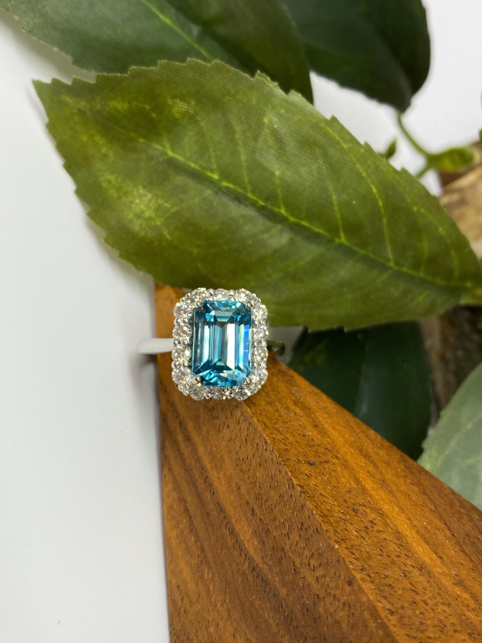 14K White Gold Emerald Cut Cambodia Blue Zircon and Diamond Ring