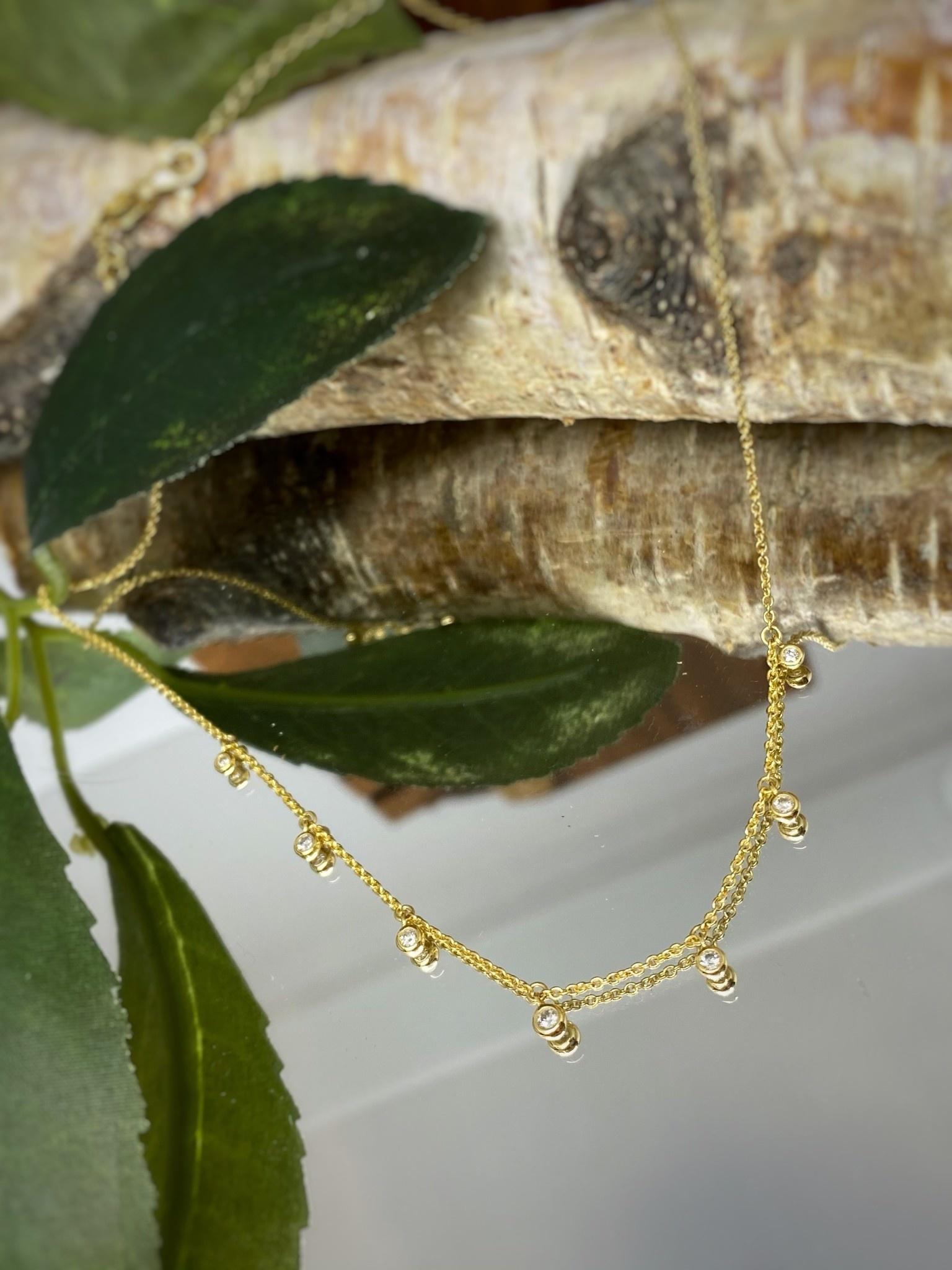 10K Yellow Gold Bezel Set Diamond Choker Necklace