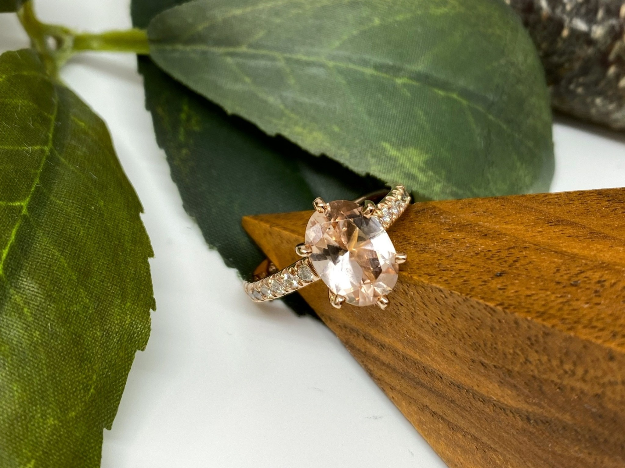 14K Rose Gold Oval Morganite and Diamond Band Ring