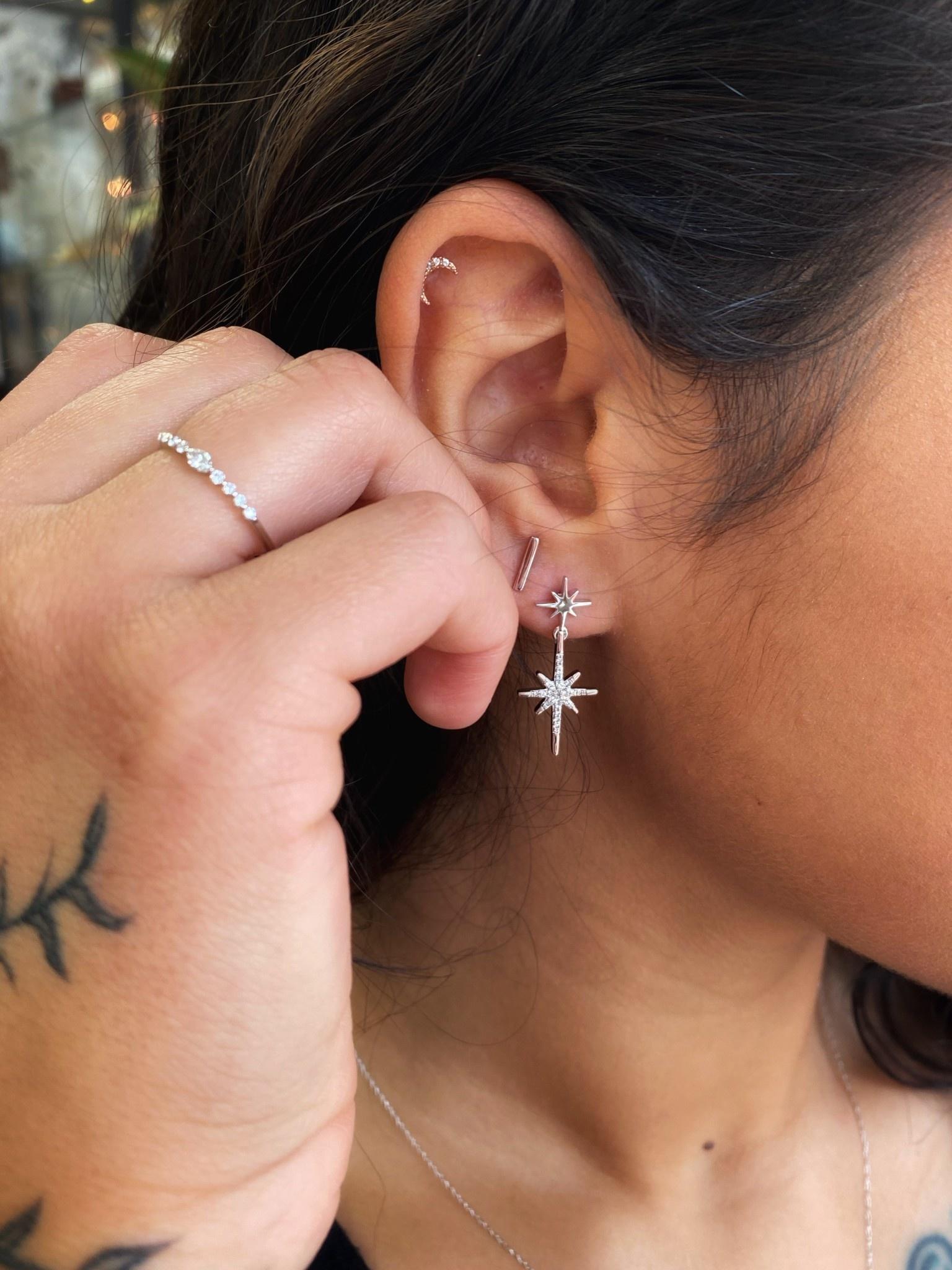 10k diamond starburst earrings