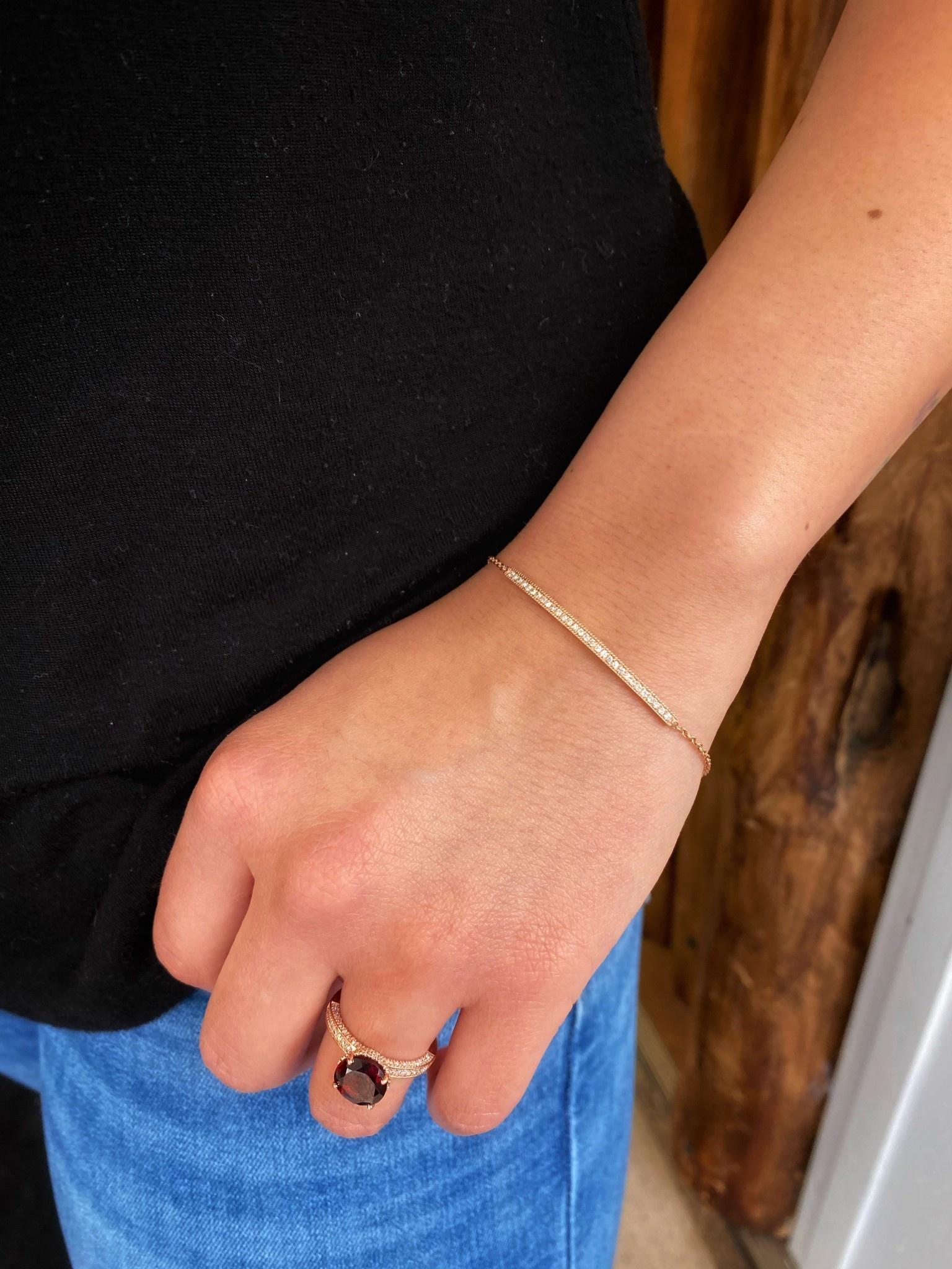 14K Rose Gold Diamond Bar Bracelet