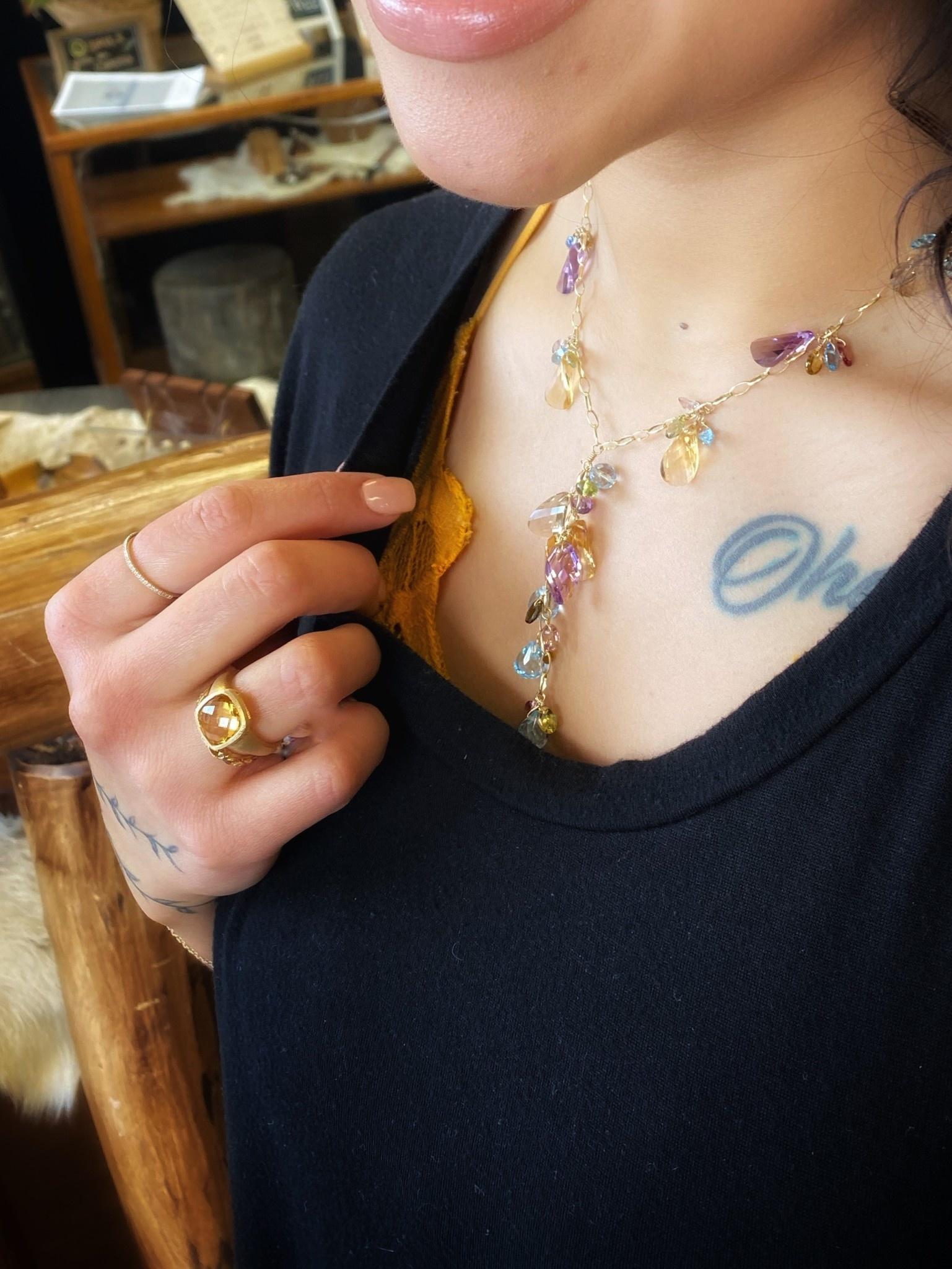 14K Yellow Gold Diamond Prong Stacking Band Ring