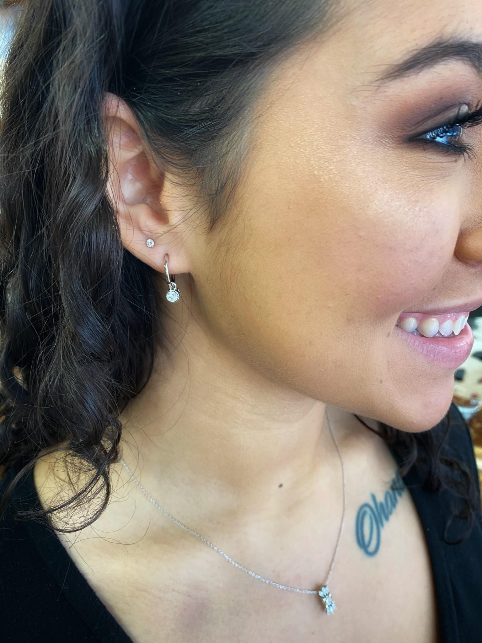 10K White Gold Solitaire Dangle Diamond Hoop Earrings