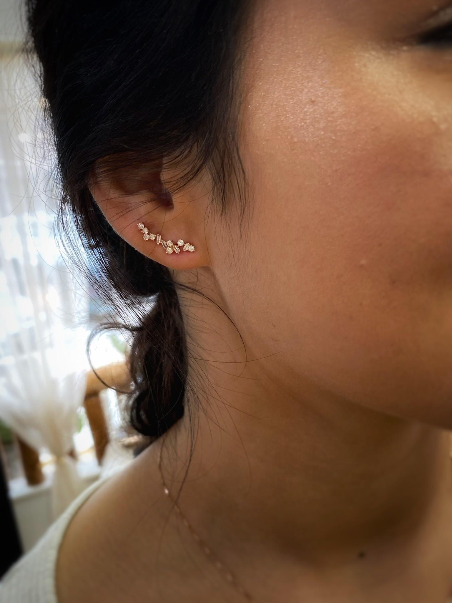 18K Rose Gold Diamond Cluster Climber Earring
