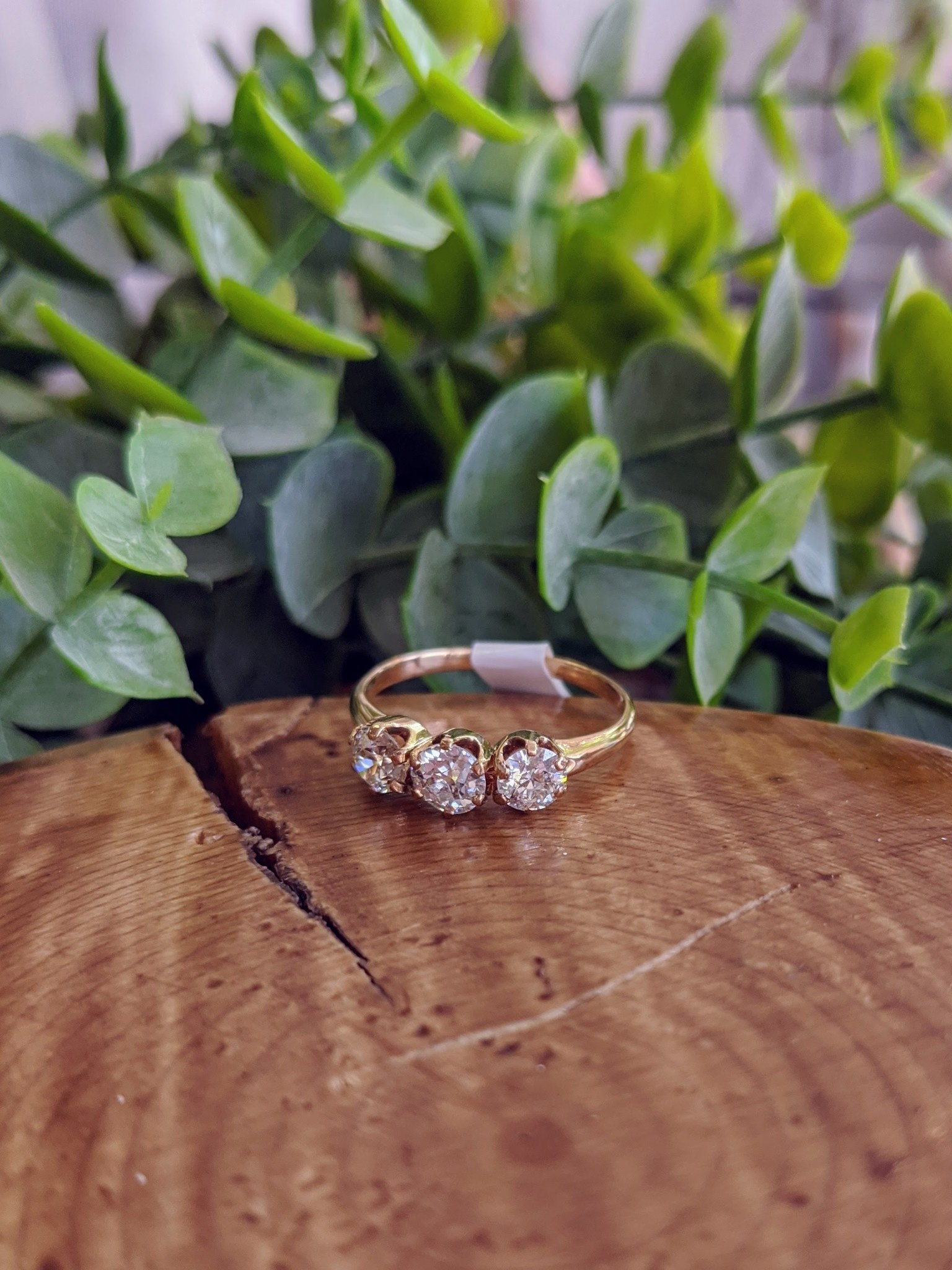 14K Yellow Gold Vintage European Cut Three Diamond Ring