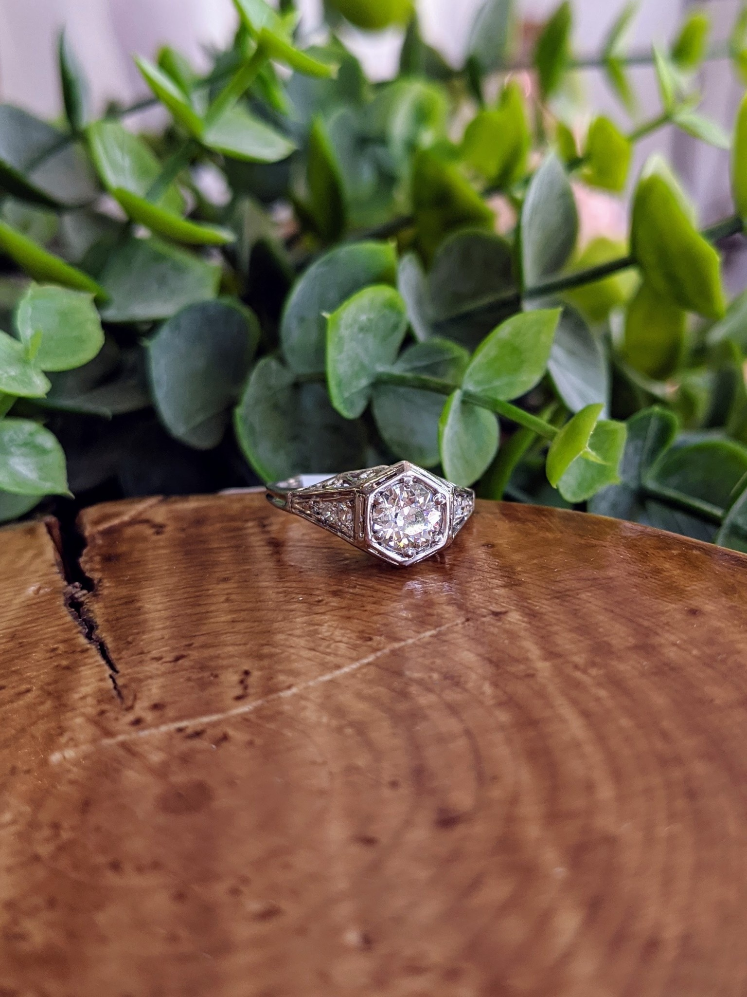 Platinum Swirly Filigree Old European Cut Diamond Ring
