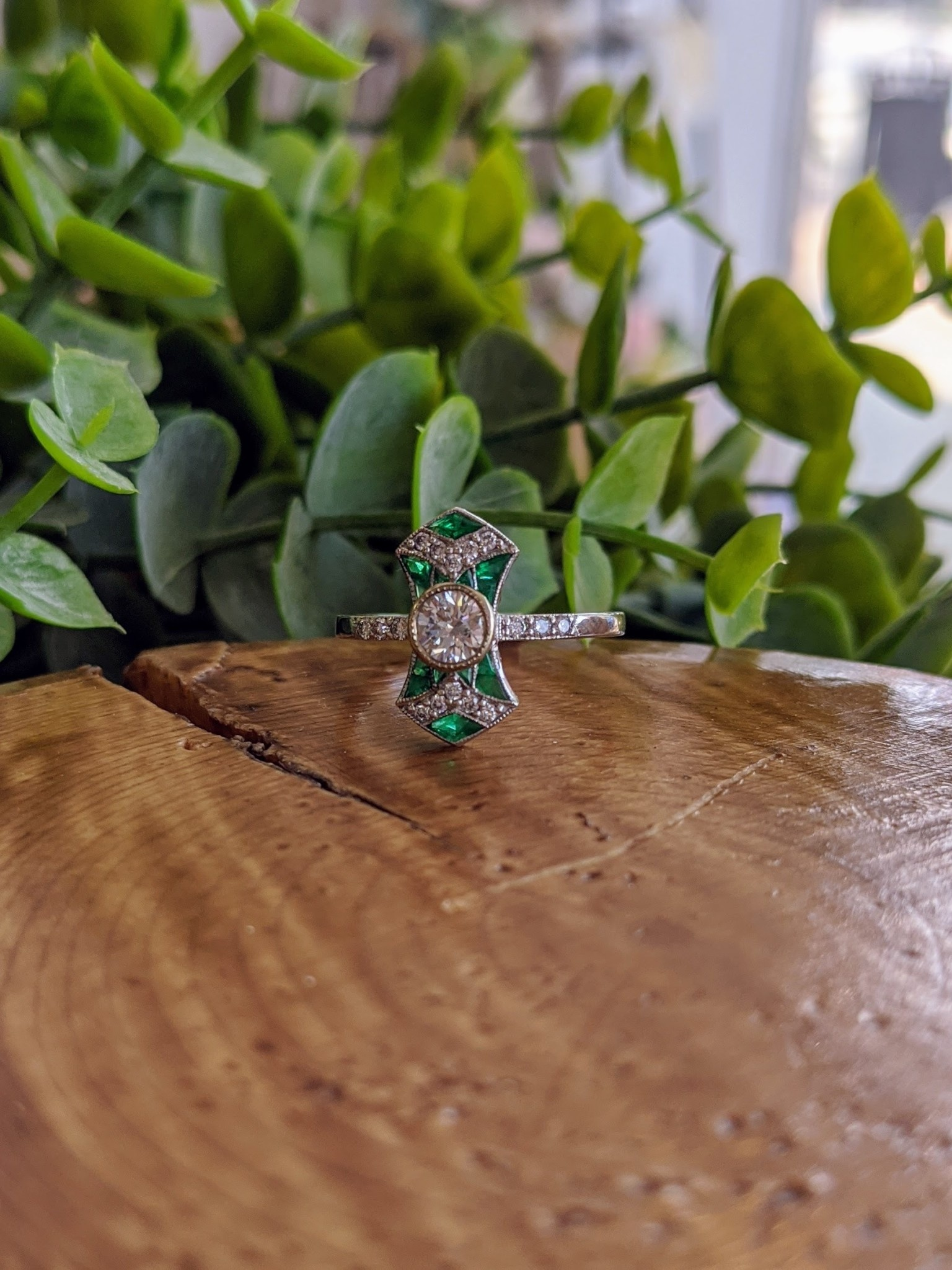 14K White Gold Bowtie Diamond Ring with Emerald Accents