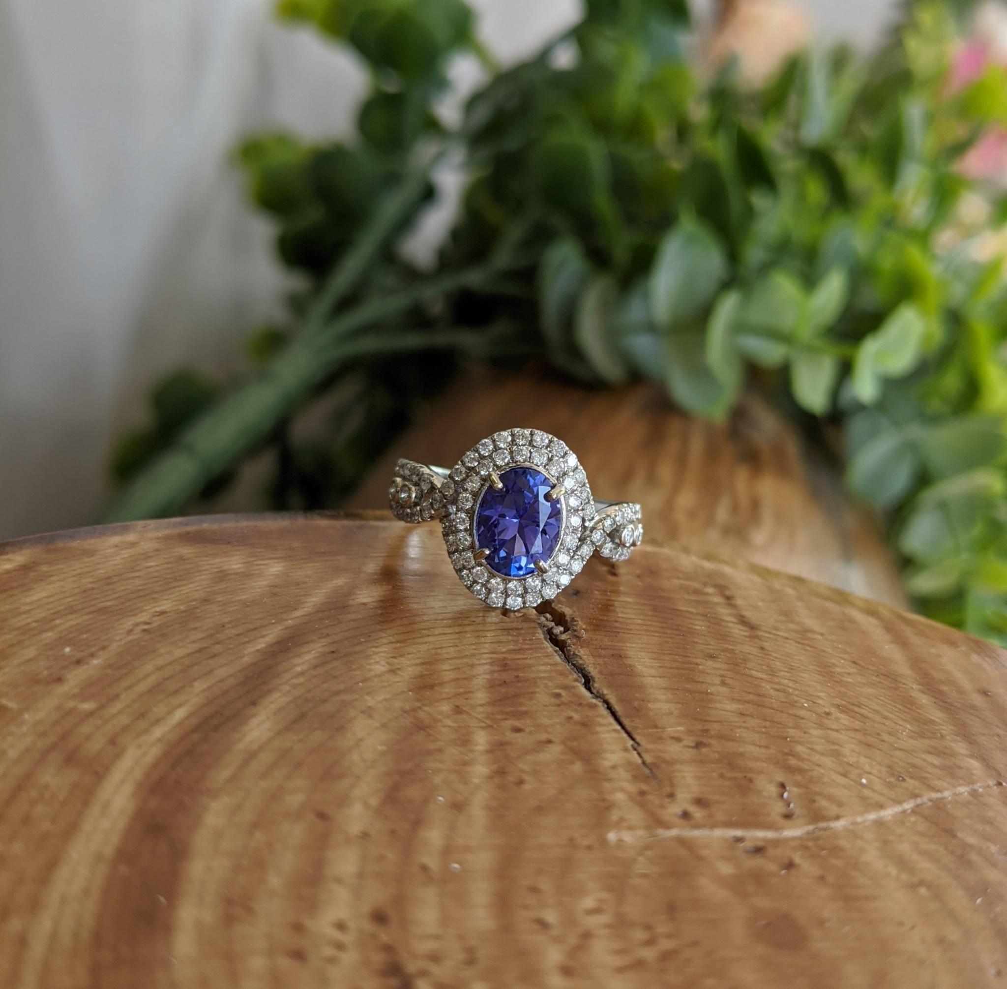 14K White Gold Blue Tanzanite and Diamond Halo Twist Ring
