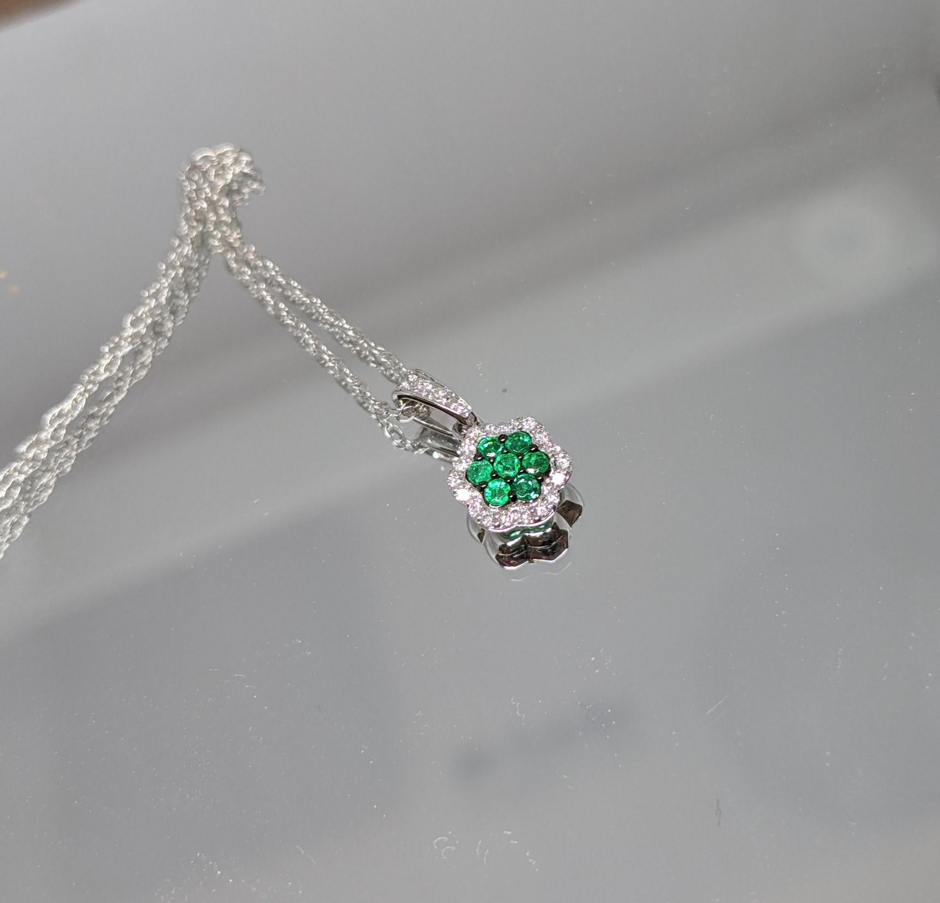 14K White Gold Emerald and Diamond Halo Pendant Necklace