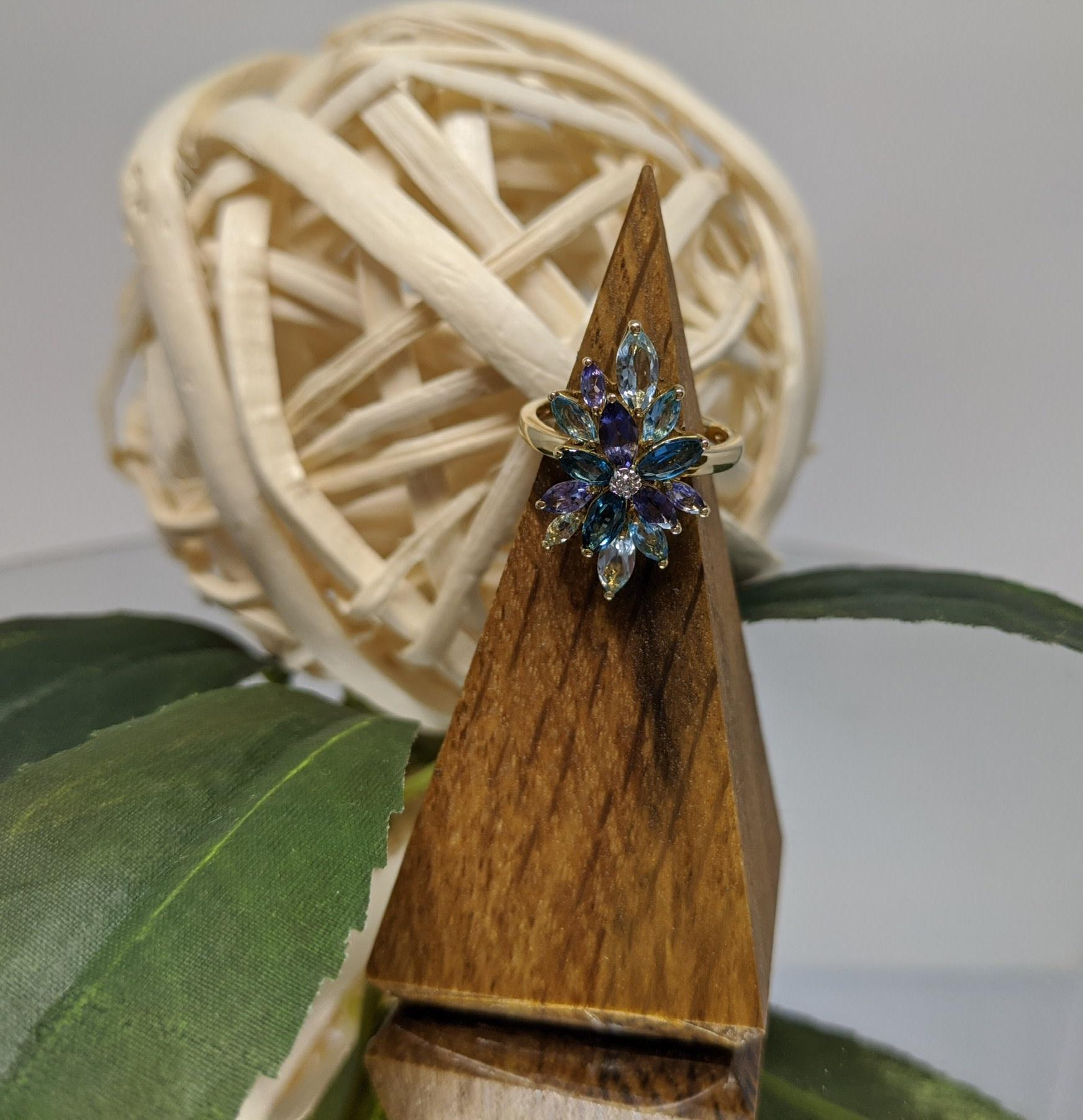 10K Yellow Gold Blue Topaz, Tanzanite and Diamond Lotus Ring