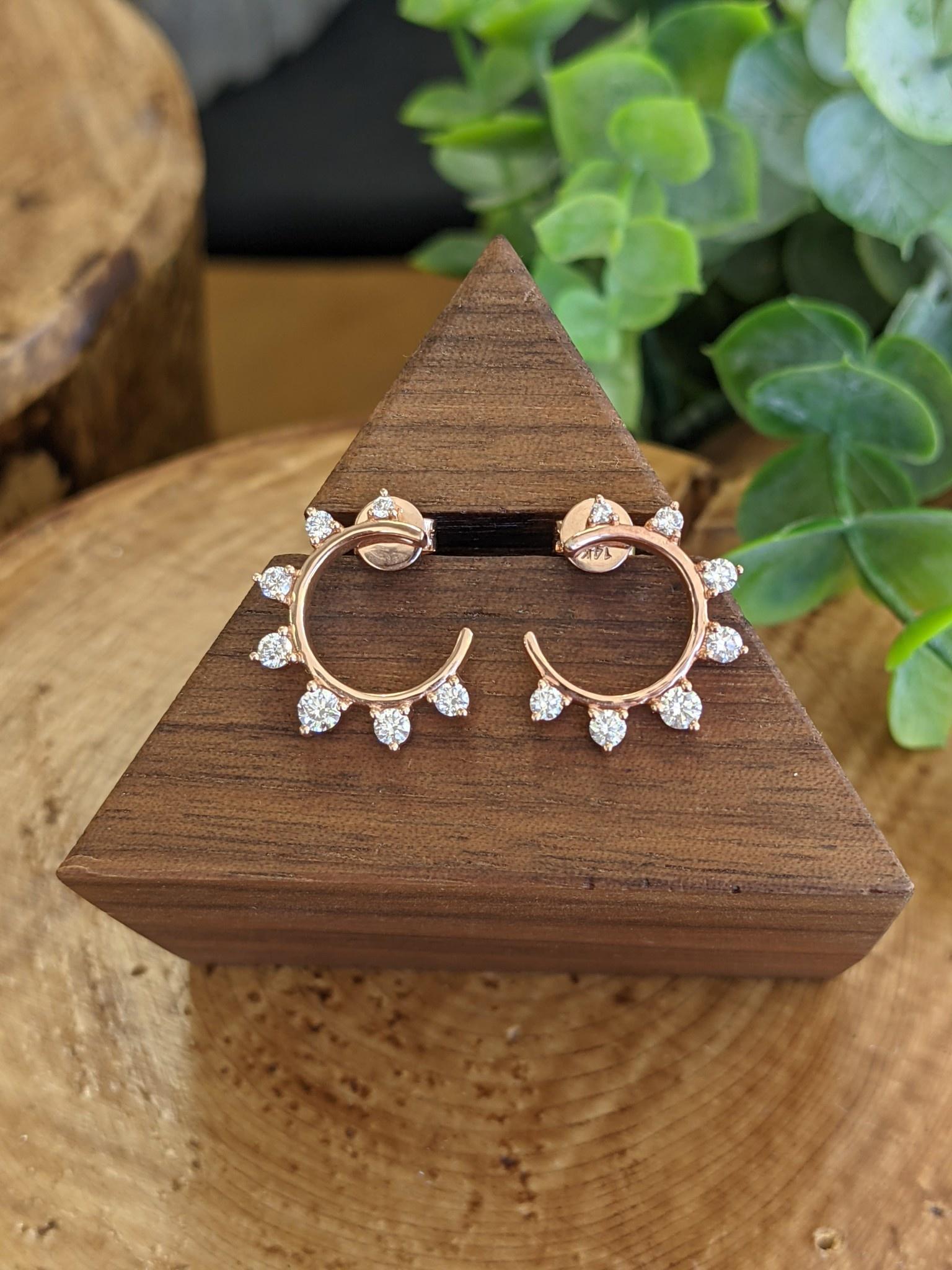 Rose Gold Diamond Sun Earrings