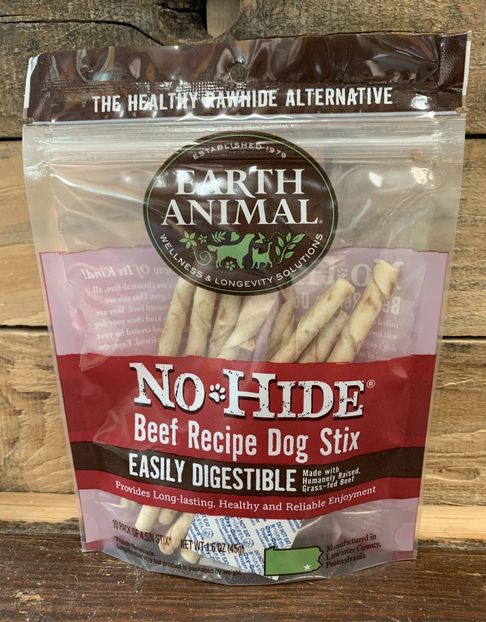 Earth Animal Treat No Hide 10 pk stix Beef