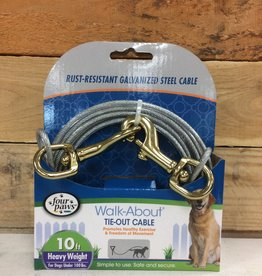 Four Paws Silver Heavy Weight Tie Out 10FT