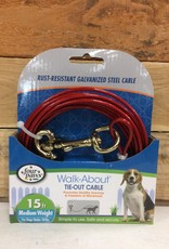 FOUR PAWS Red 15 FT Medium WEIGHT TIE OUT