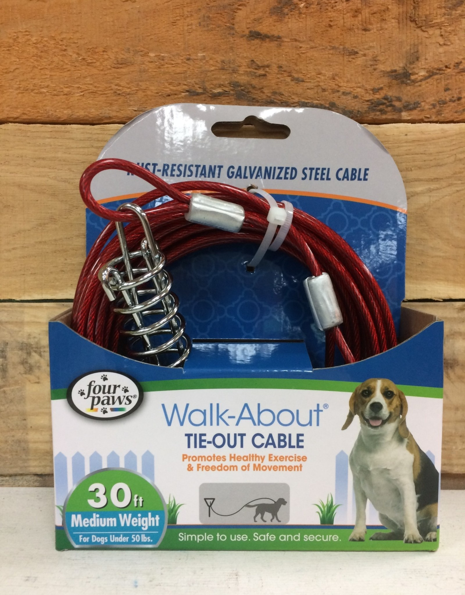 Four Paws Red 30 FT. Medium WEIGHT TIE OUT
