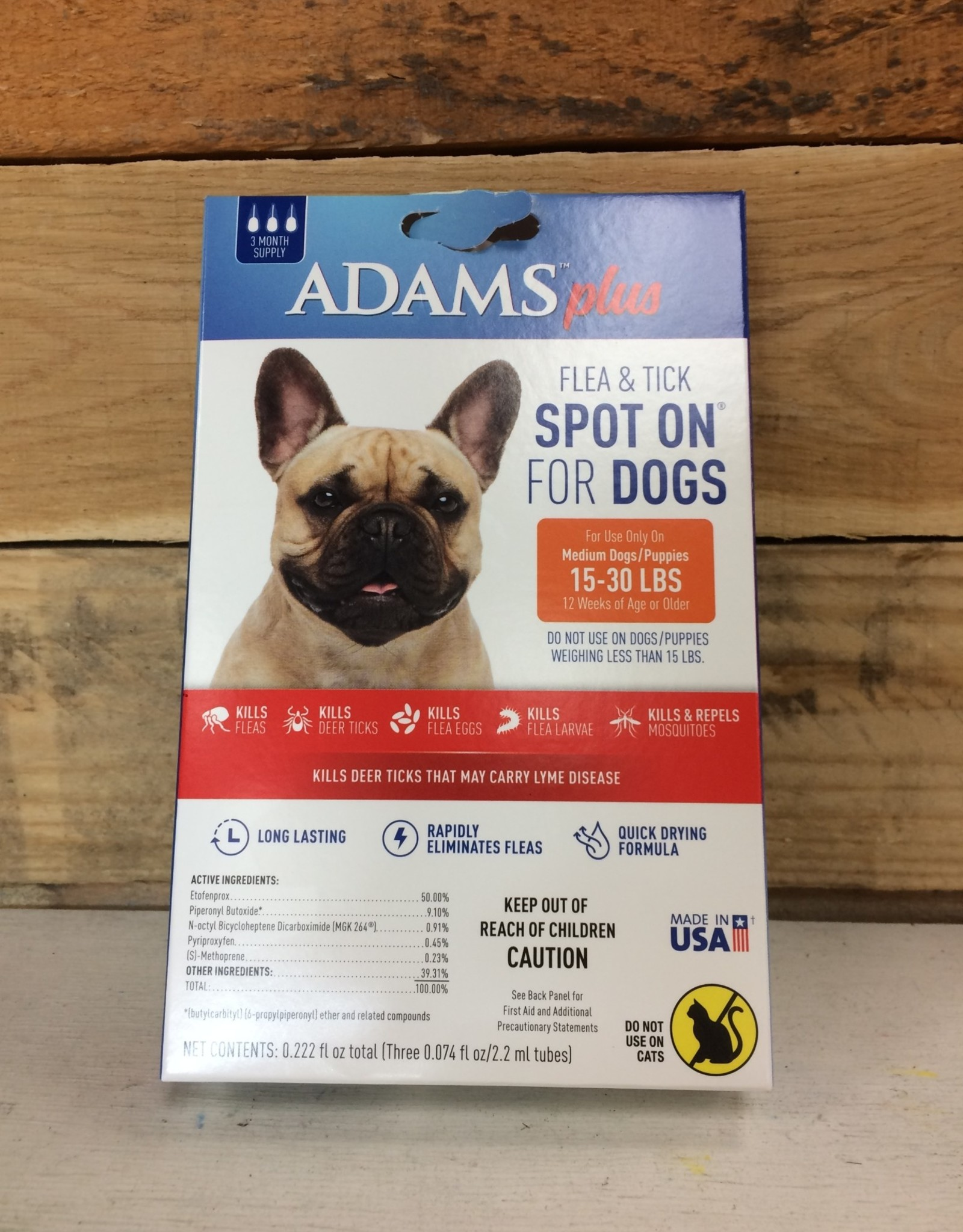 Central Life Sciences- Adams Adams Plus Flea & Tick Spot On Dog Med 3 Month
