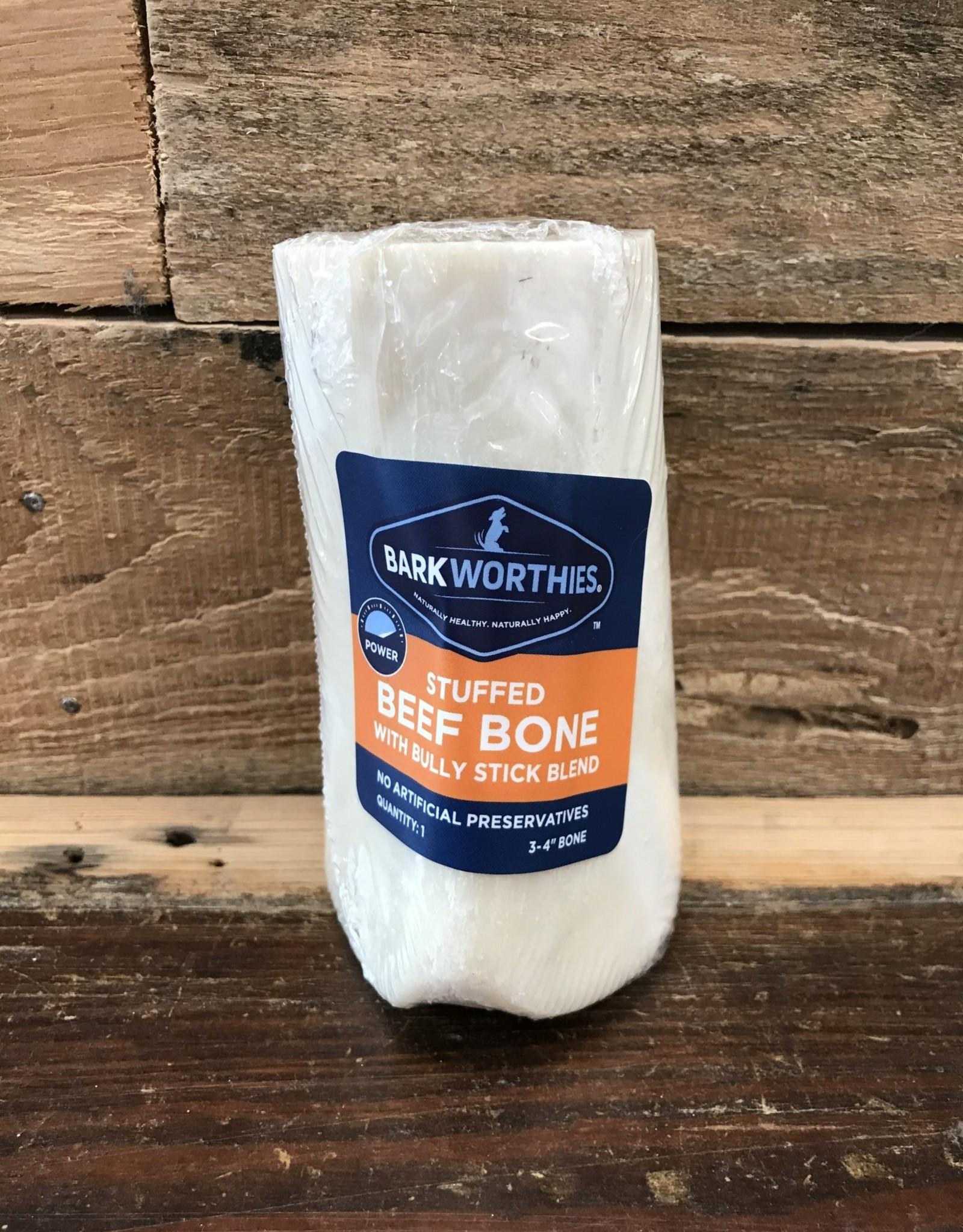 "Barkworthies stuffed shin bone bully stick  3-4"""