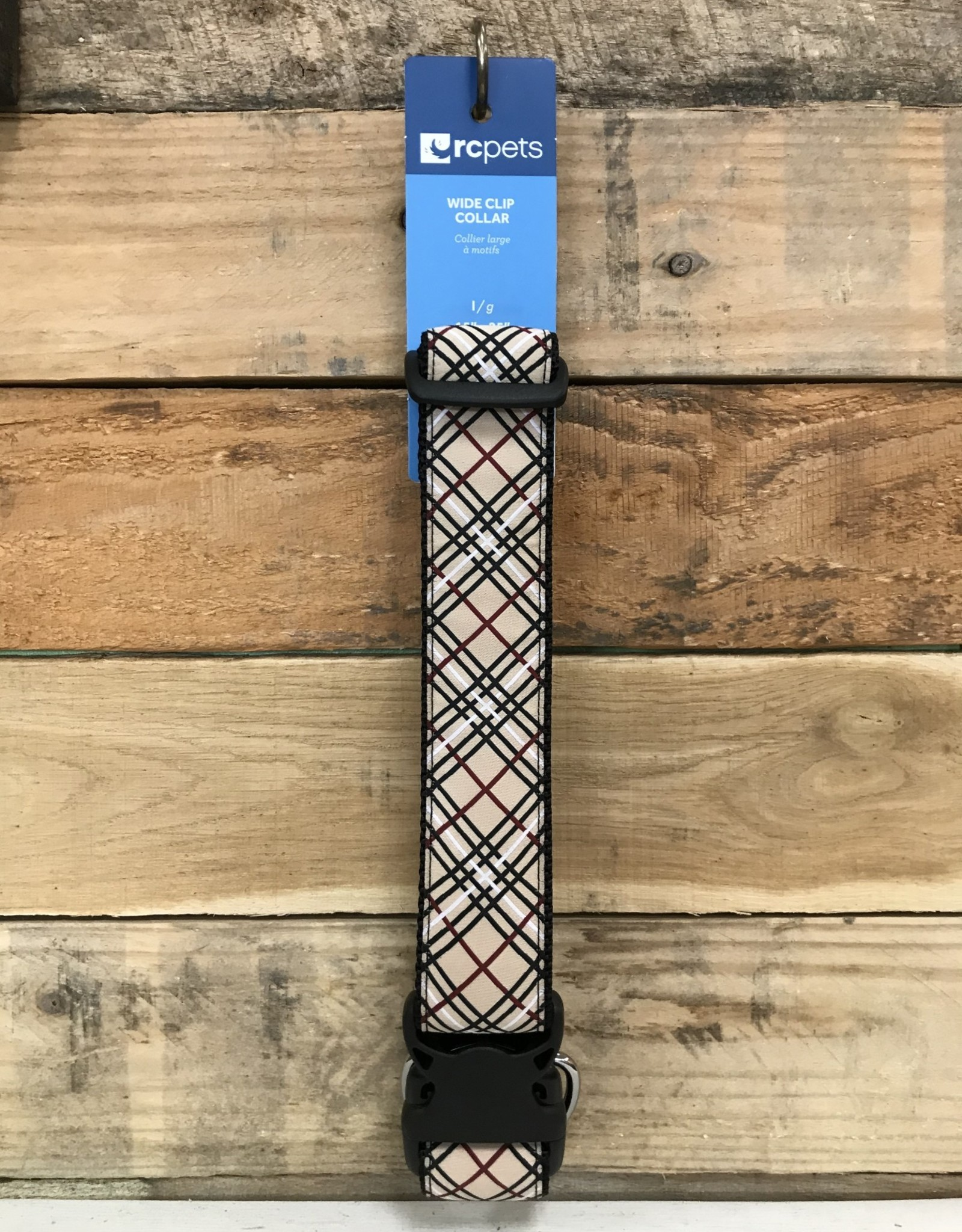 RC Pets Wide Clip Collar L Tan Tartan
