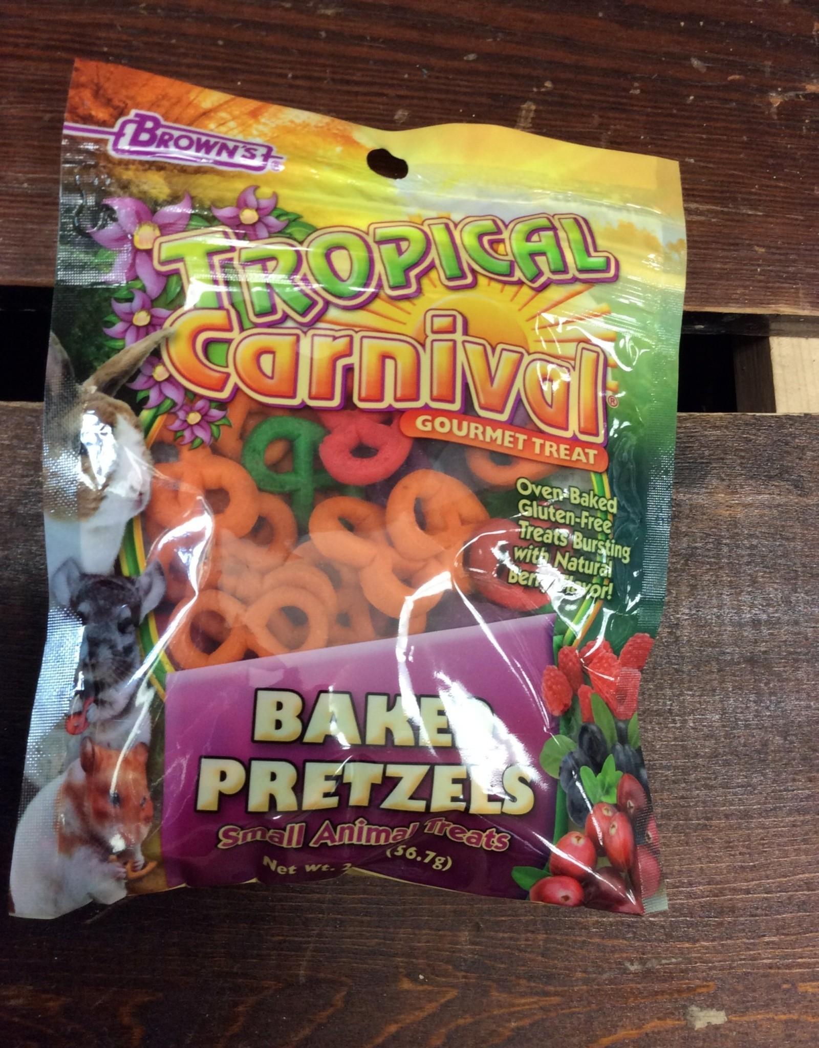 Fm Browns Tropical Carnival Baked Pretzels Animal Treat Sm 2oz.