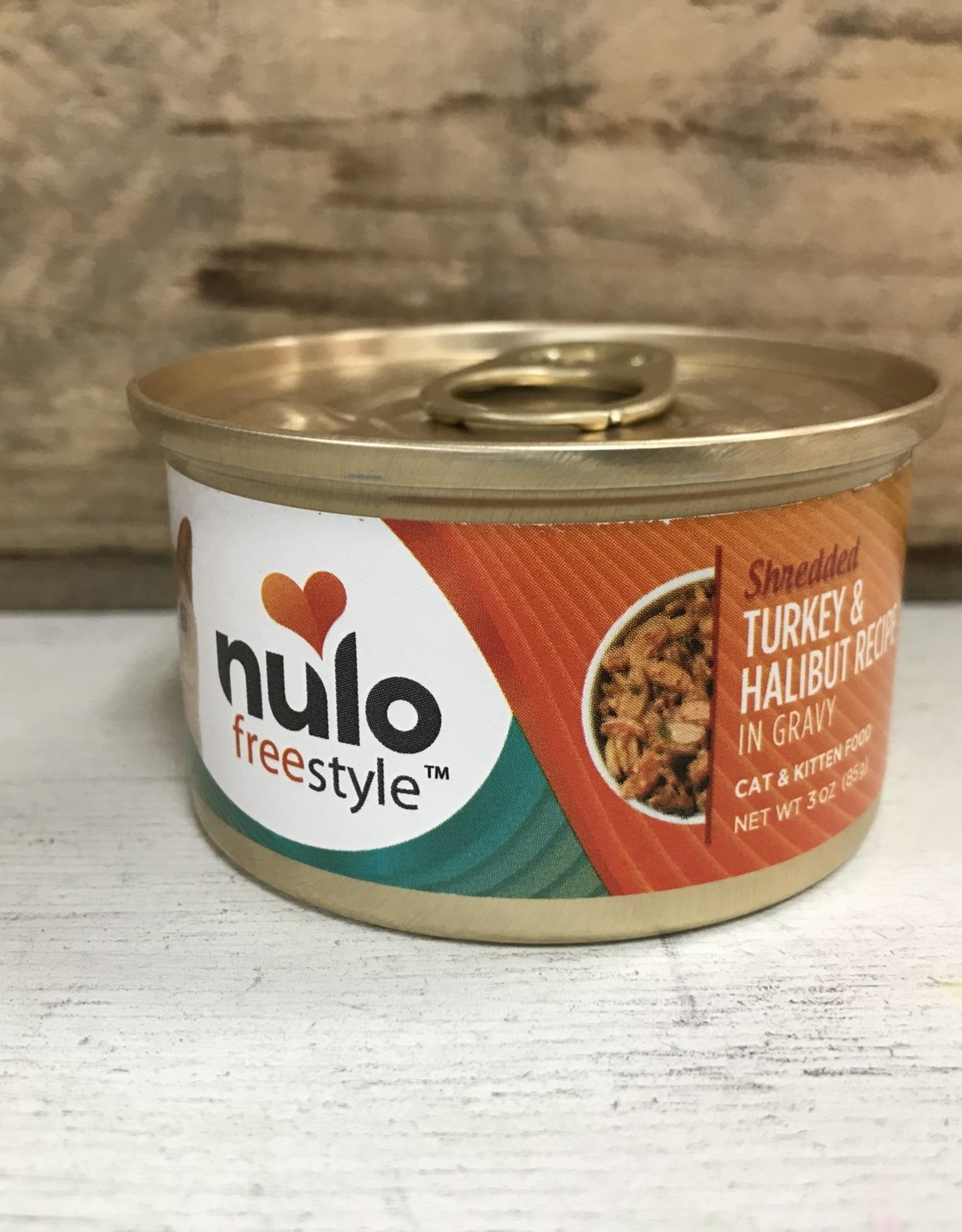Nulo Nulo FreeStyle 3oz GF Cat Shredded Turkey & Halibut in Gravy can