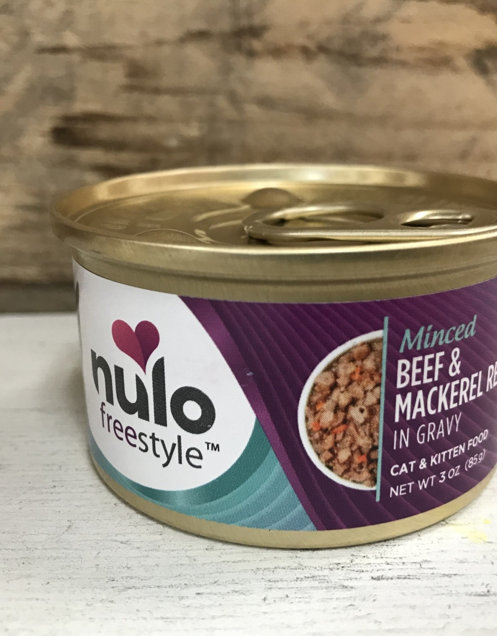 Nulo Nulo FreeStyle 3oz GF Cat Minced Beef & Mackerel in Gravy can