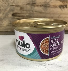 Nulo Nulo FreeStyle 3oz GF Cat Minced Beef & Mackerel in Gravy can